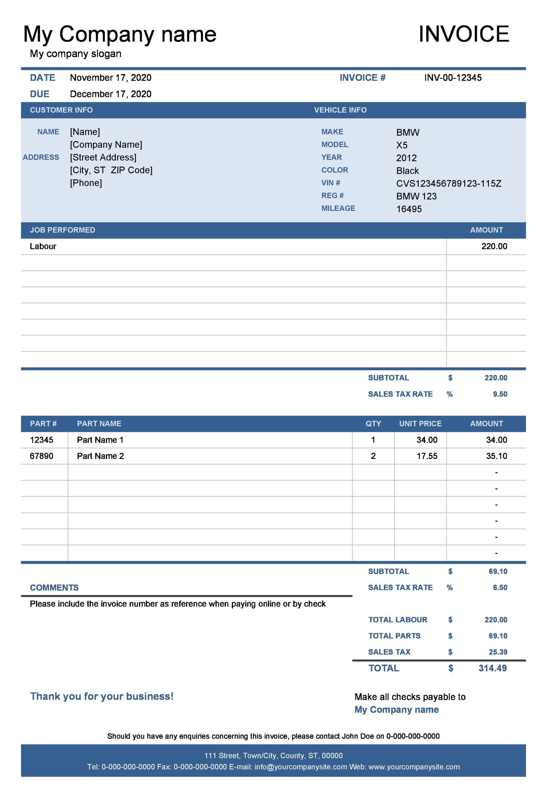 auto repair invoice 19