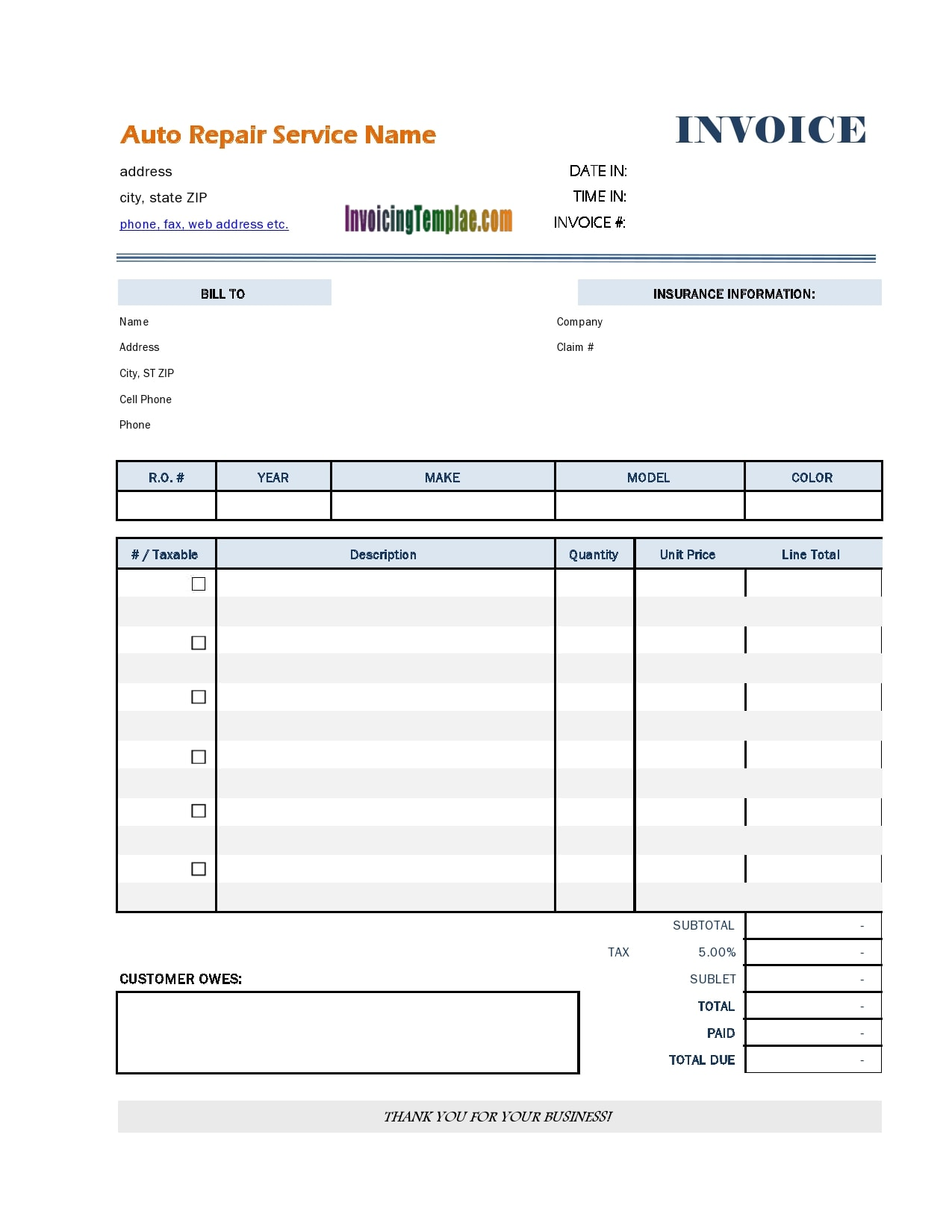 auto repair invoice 24