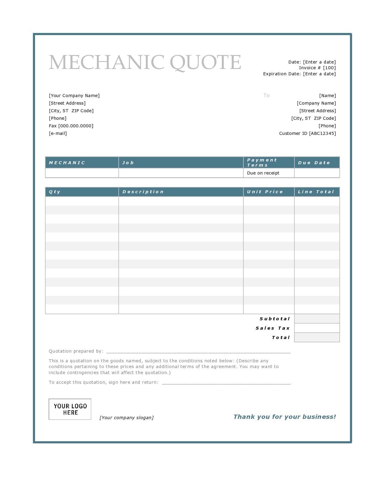auto repair invoice 30