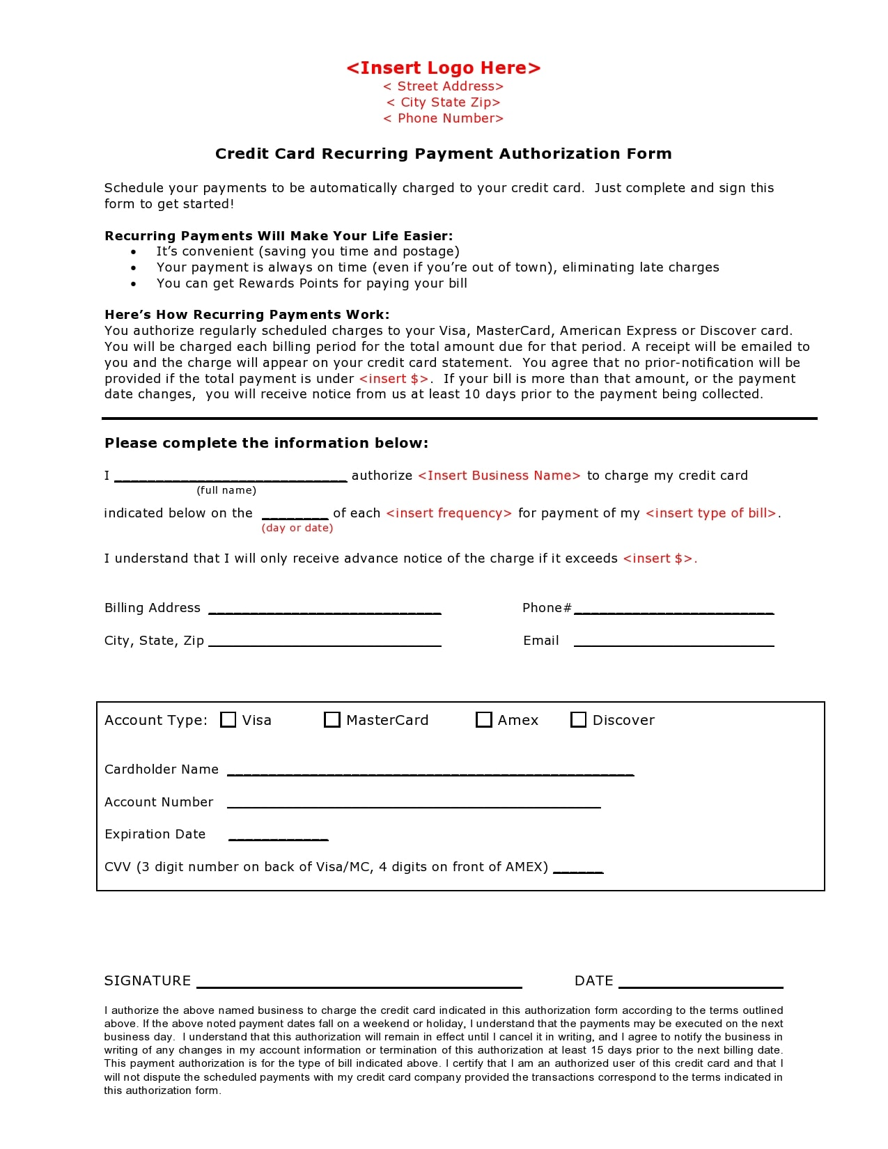 credit card authorization form template 01