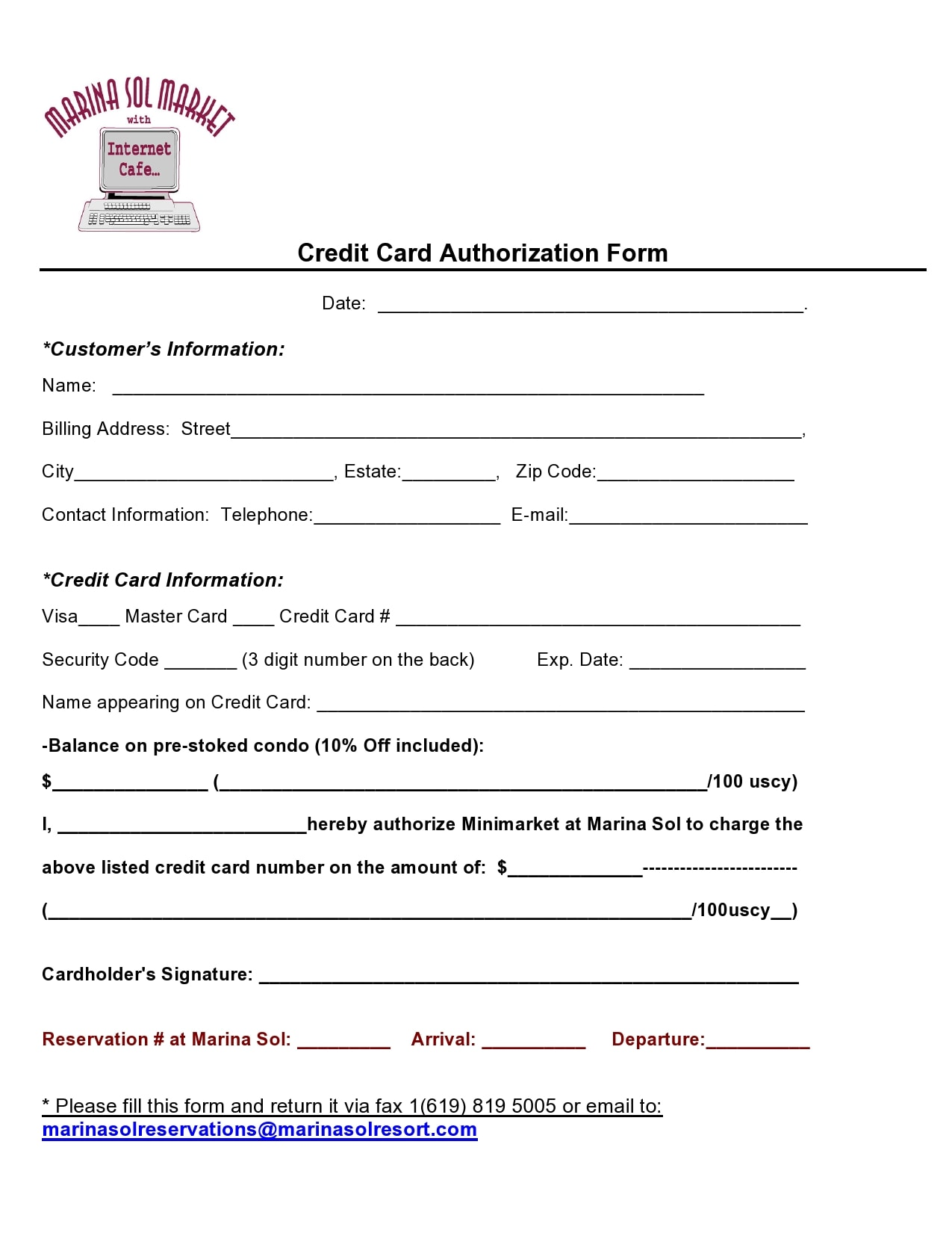 credit card authorization form template 11
