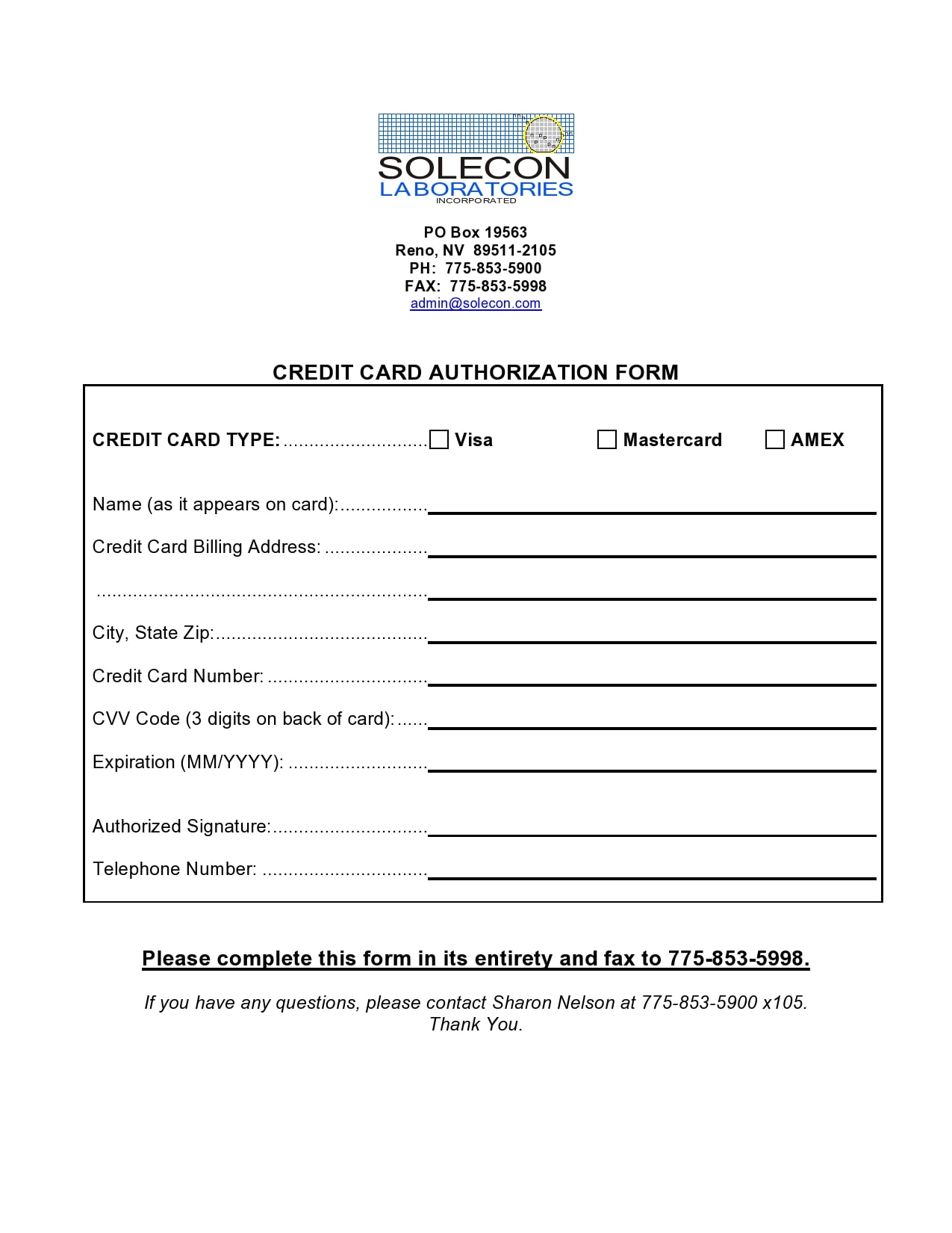 credit card authorization form template 14