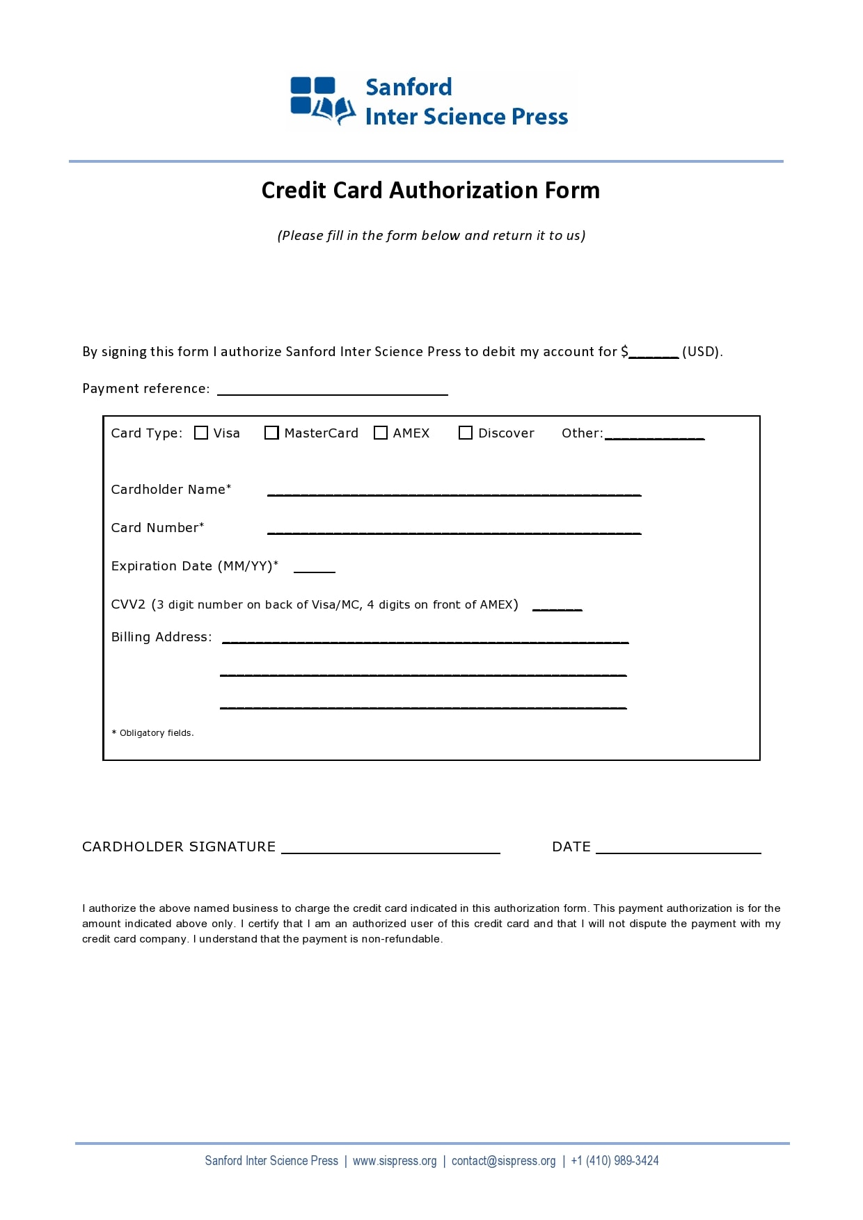 credit card authorization form template 17