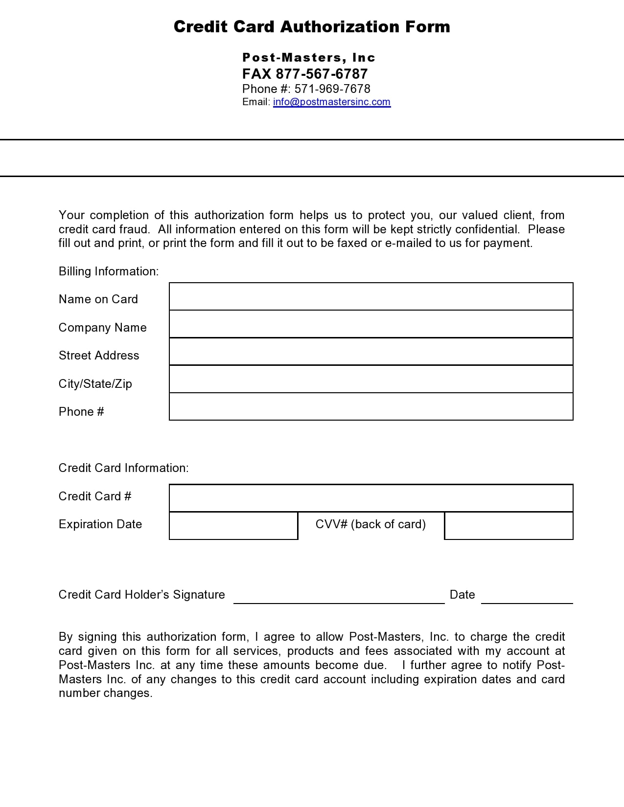 credit card authorization form template 23