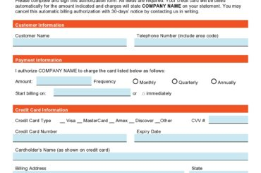 credit card authorization form template 26