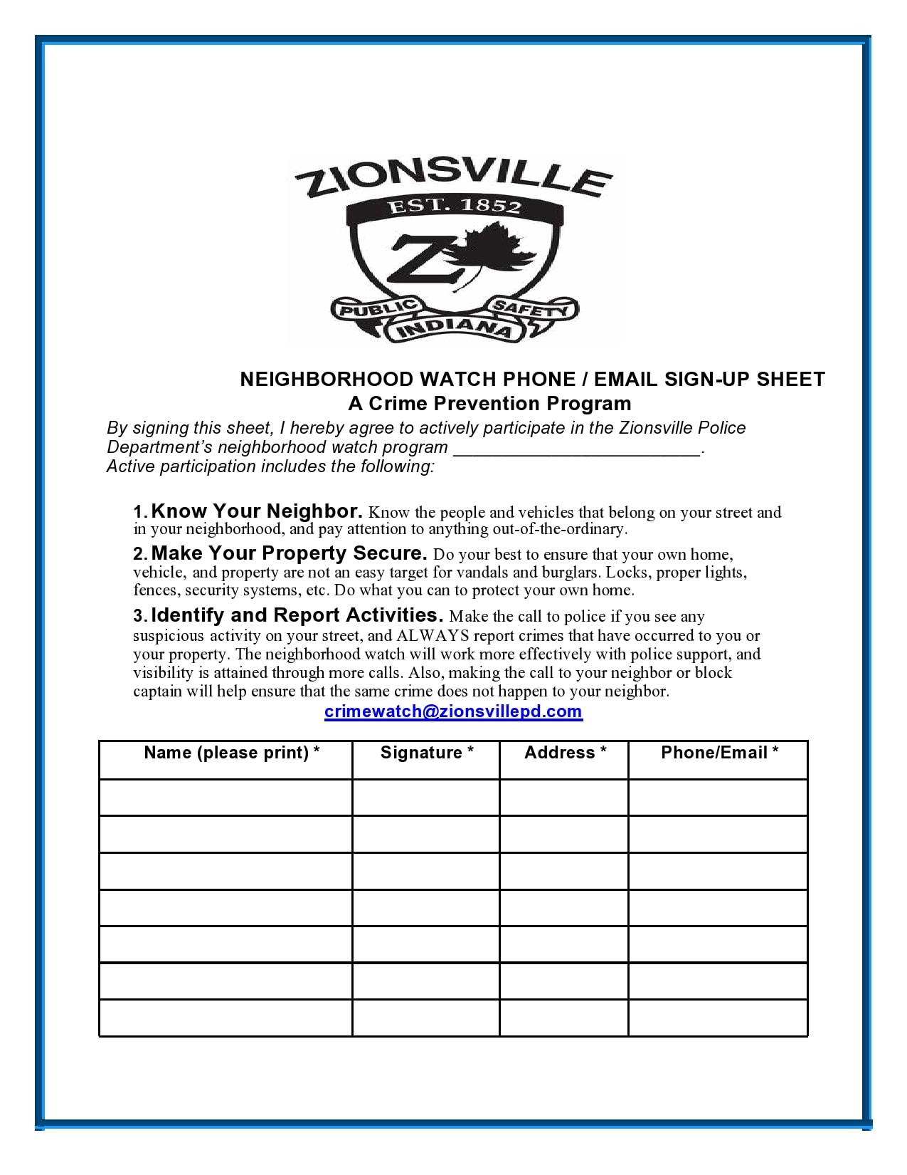email sign up sheet 11