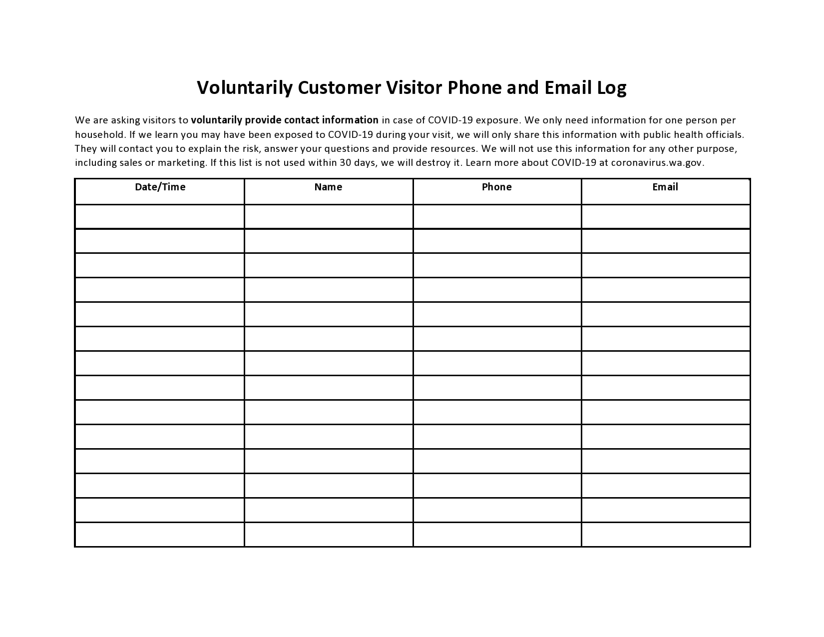 email sign up sheet 12