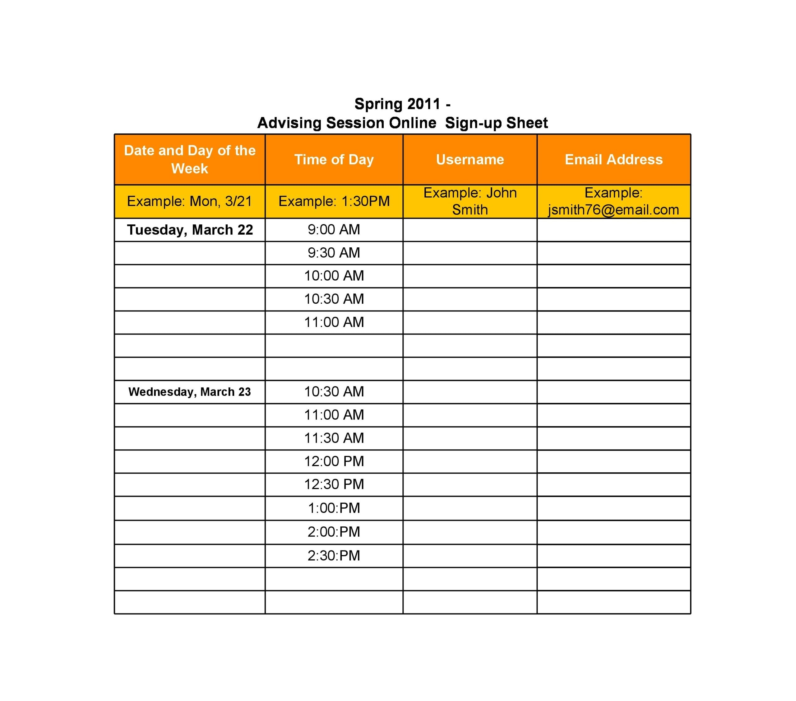 email sign up sheet 13
