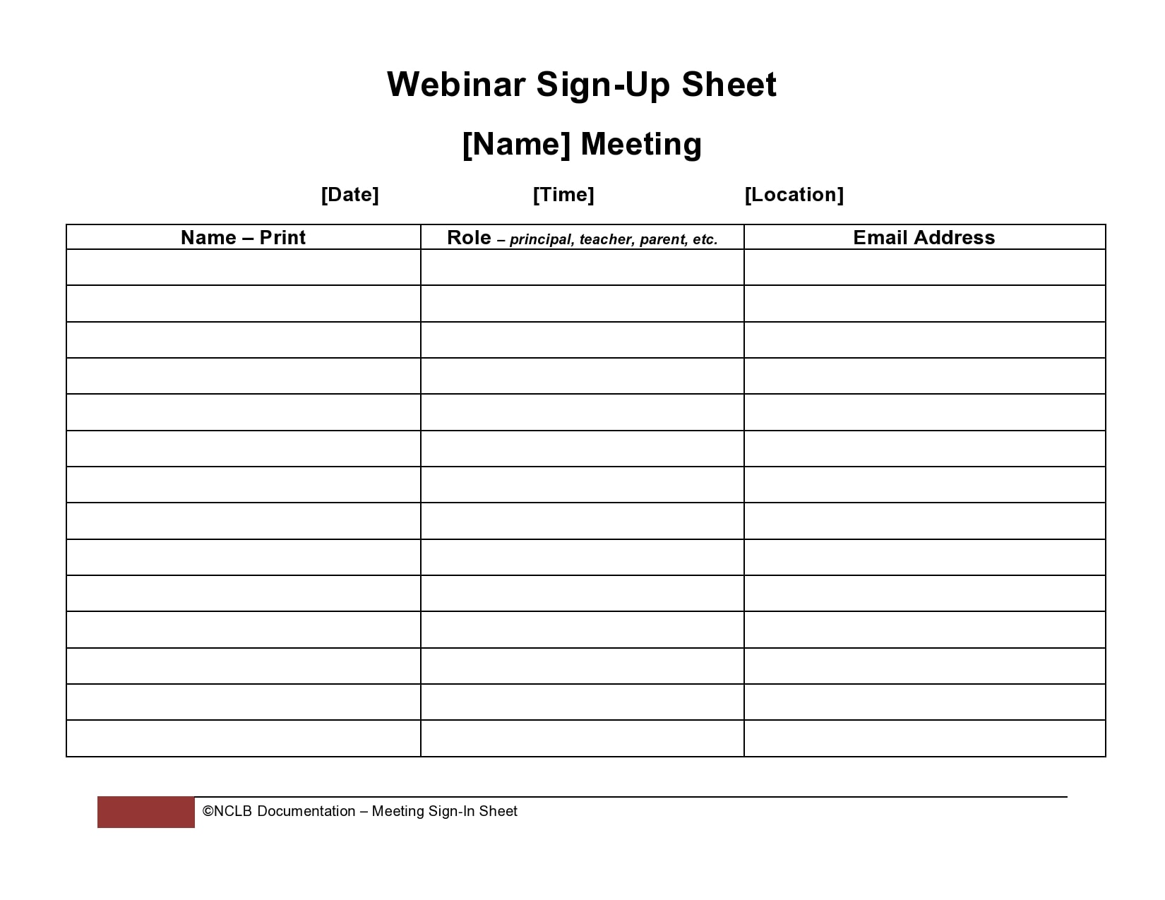 email sign up sheet 18
