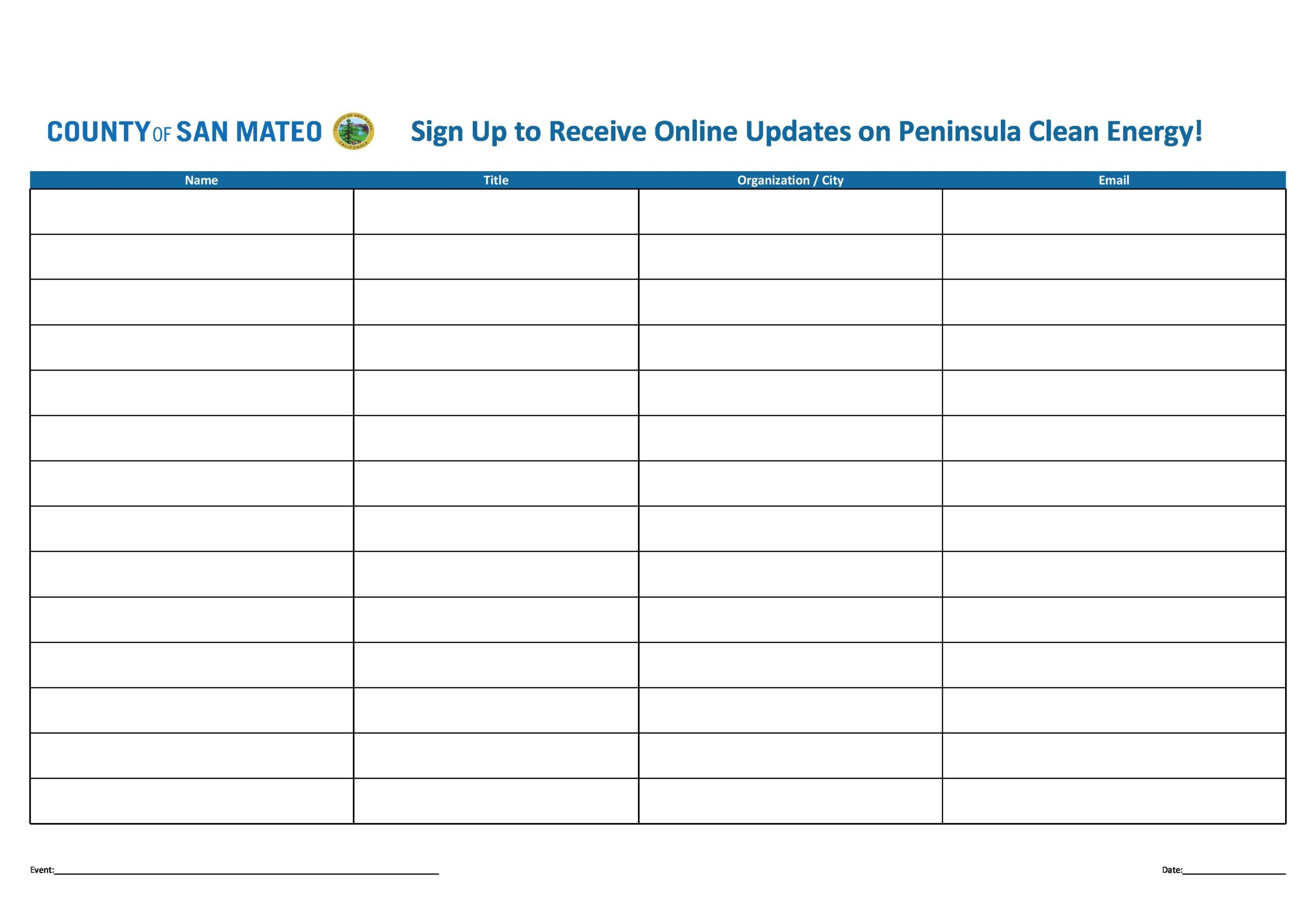 email sign up sheet 20