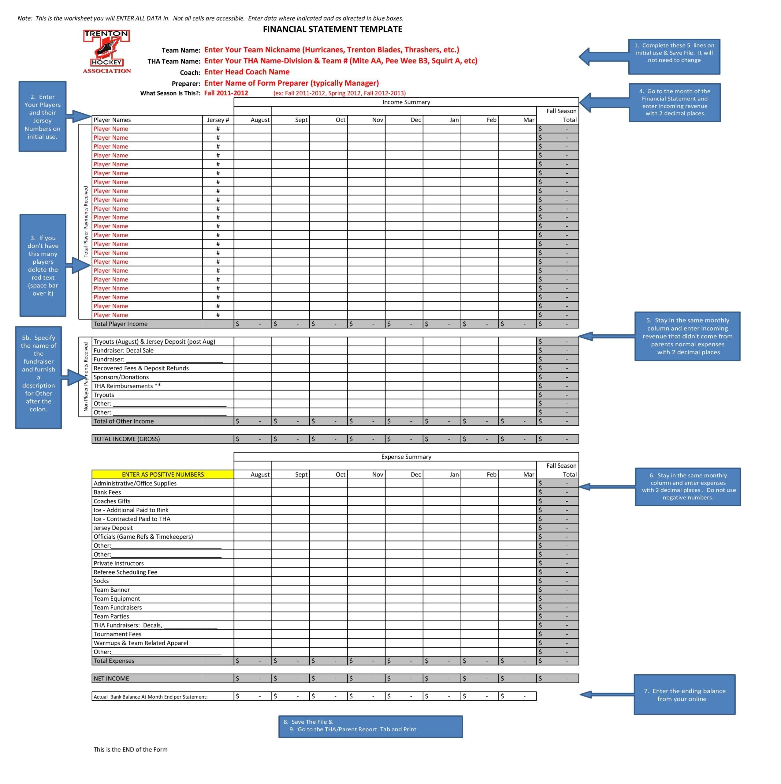 financial statement template 01