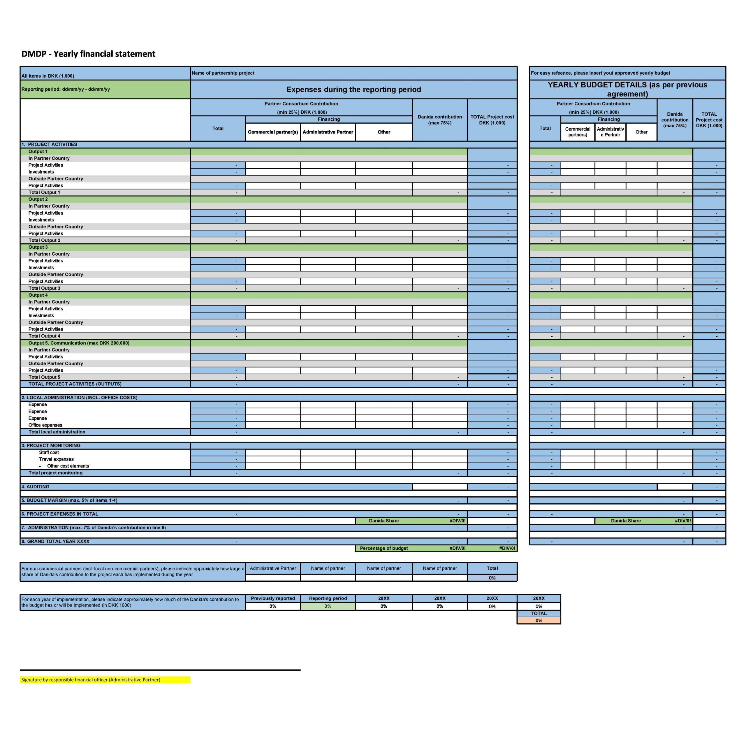 financial statement template 12