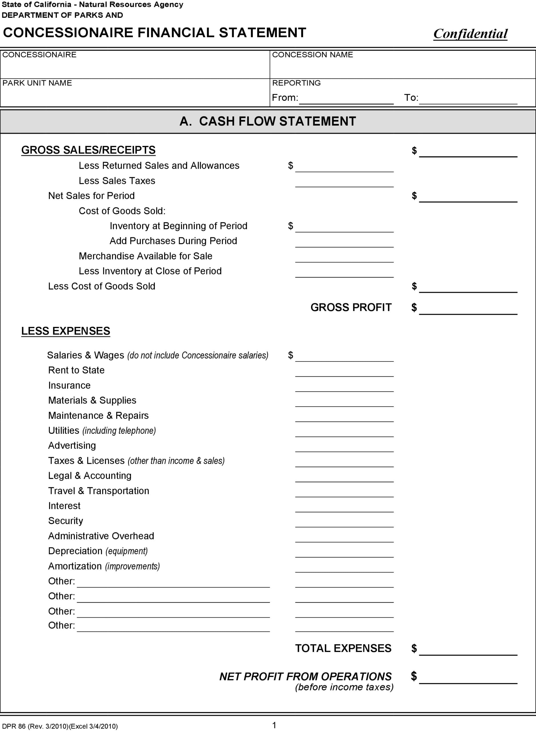 financial statement template 18