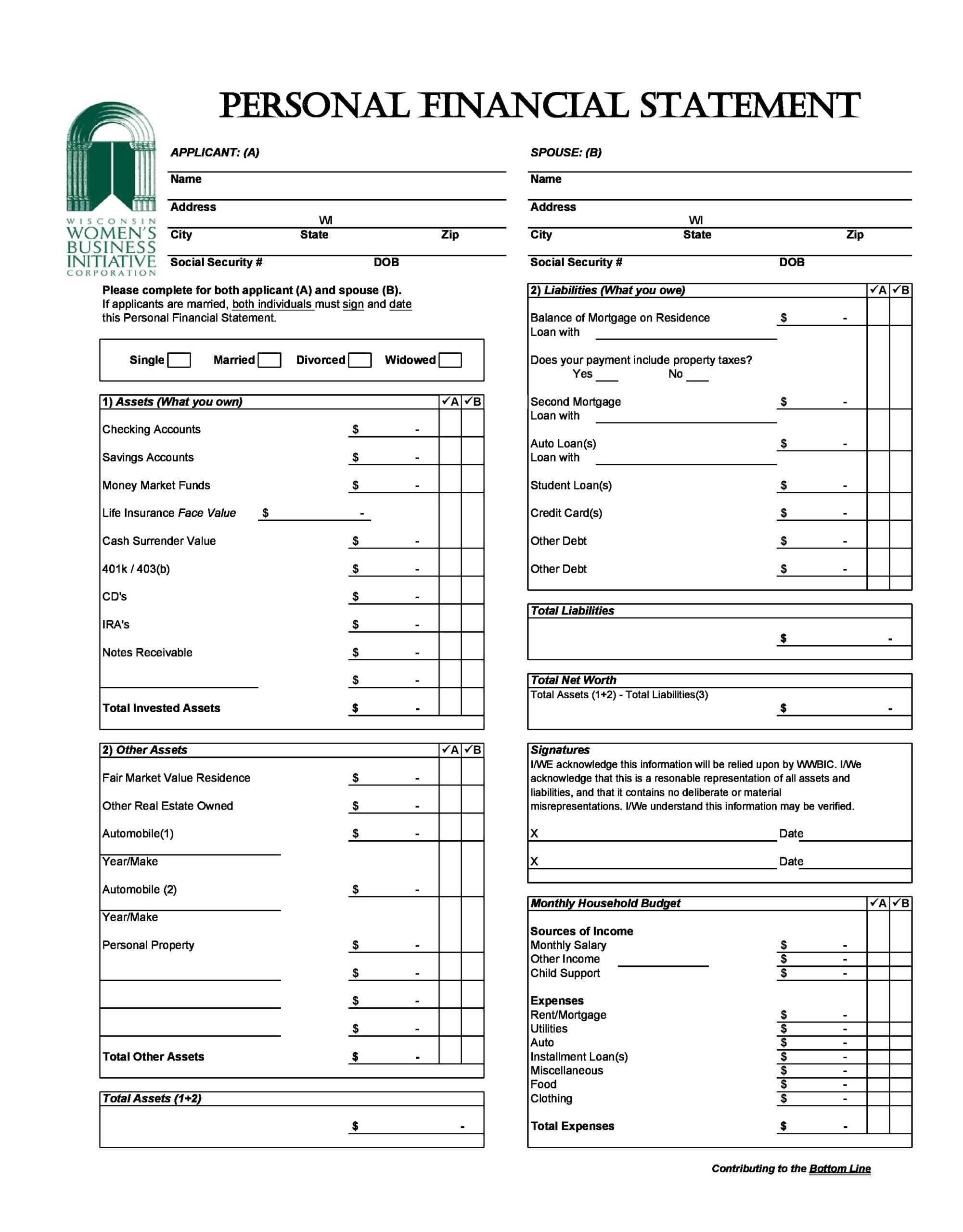 financial statement template 22