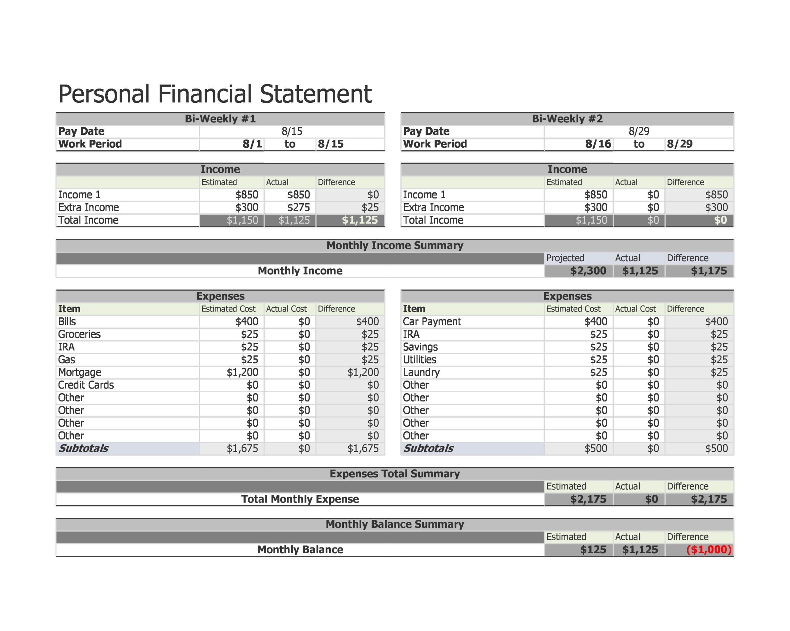 financial statement template 27