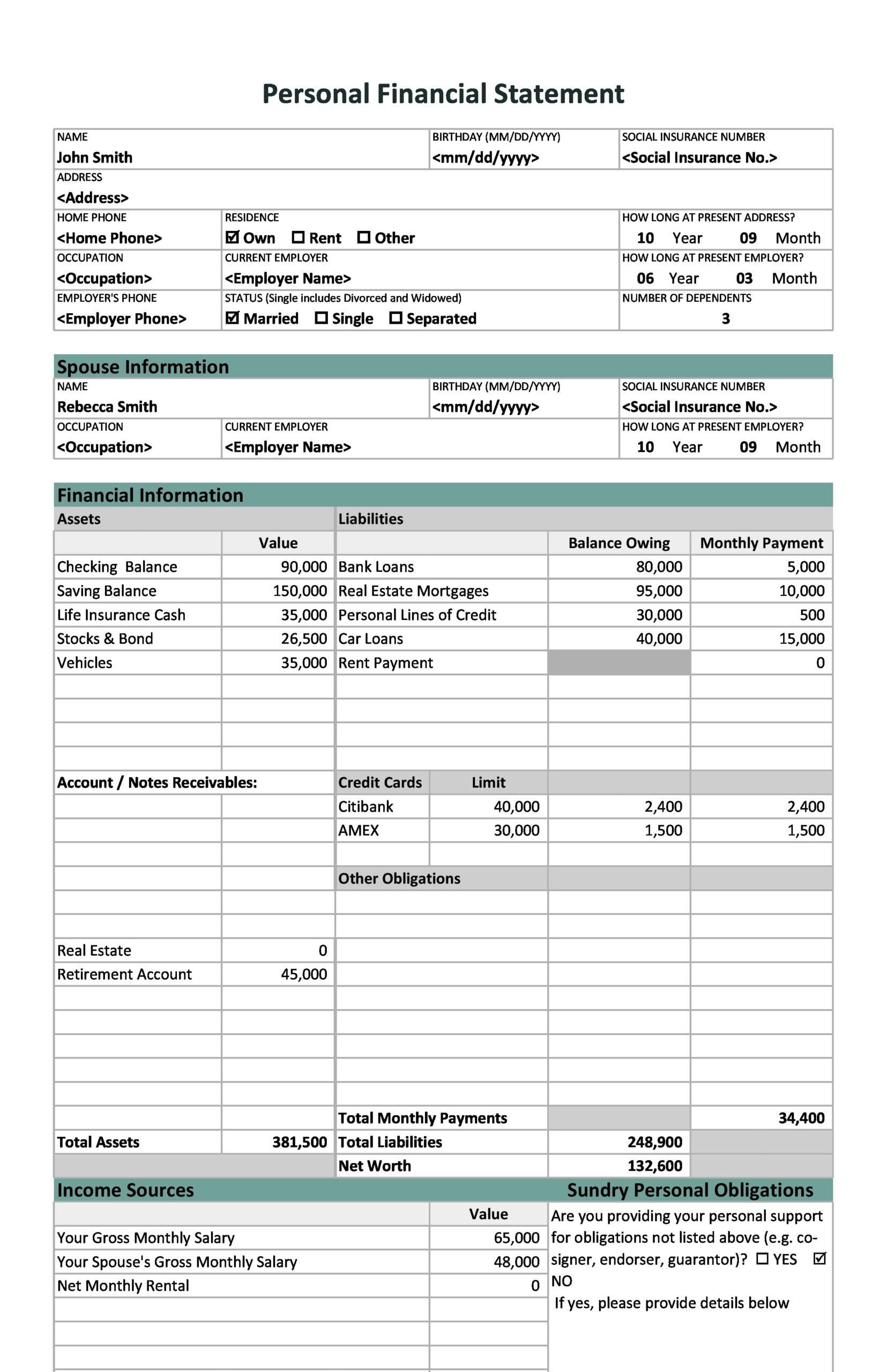 financial statement template 28