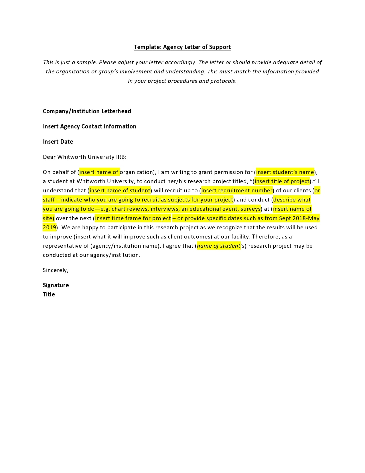 letter of support template 16