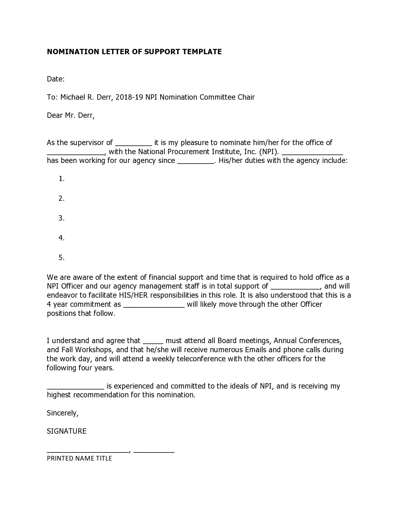 letter of support template 19
