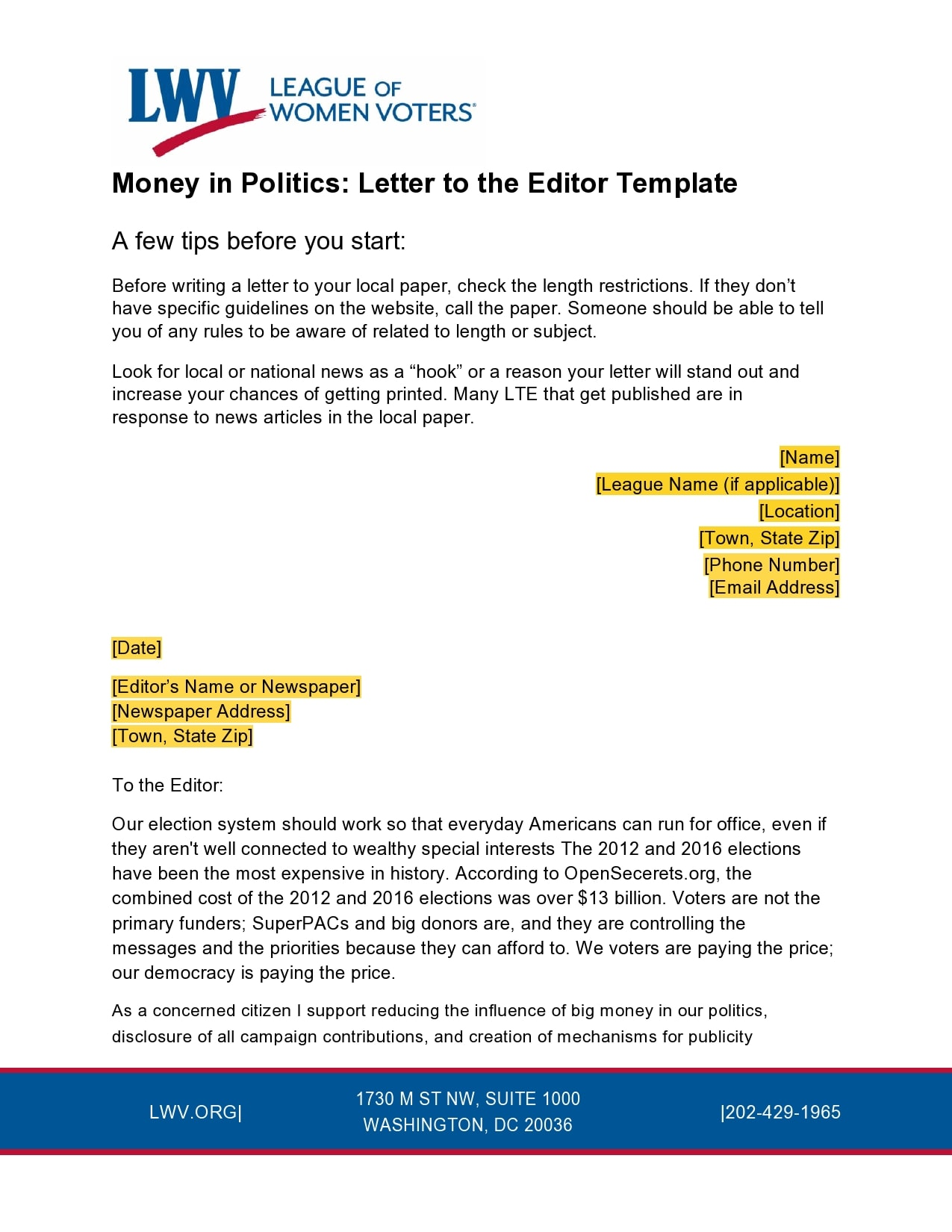 letter to the editor template 10