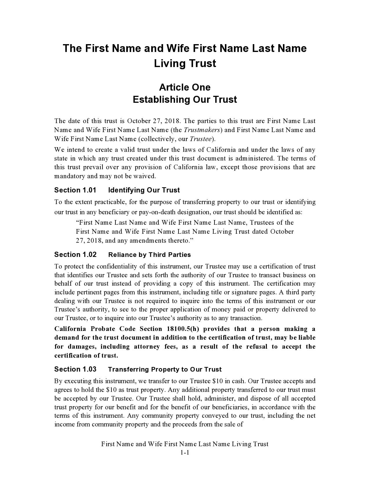 living trust form 05