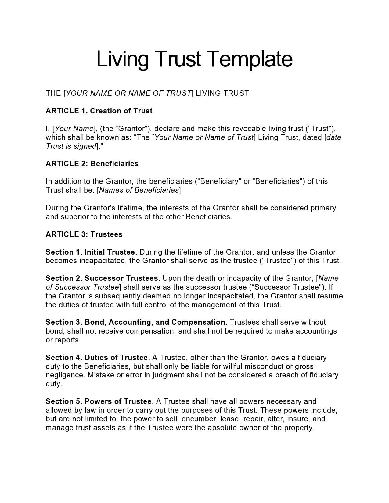 living trust form 09