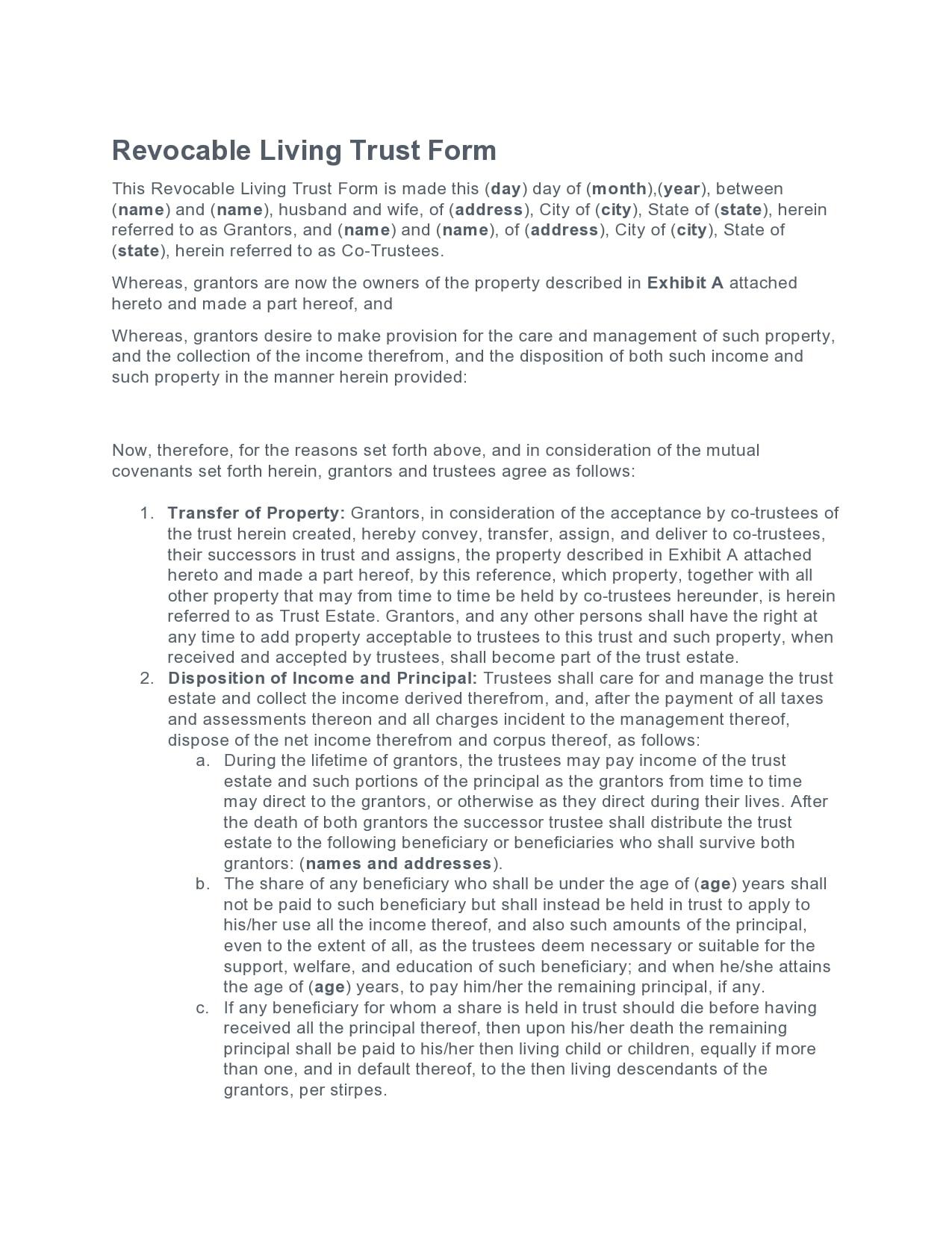living trust form 11
