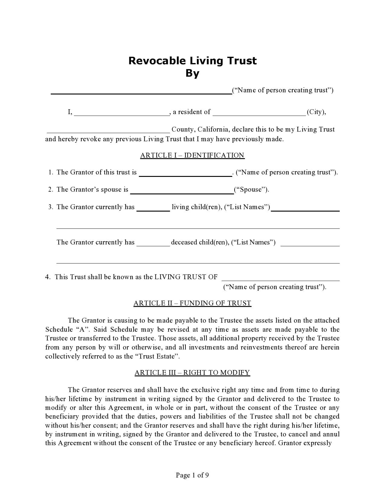 living trust form 14