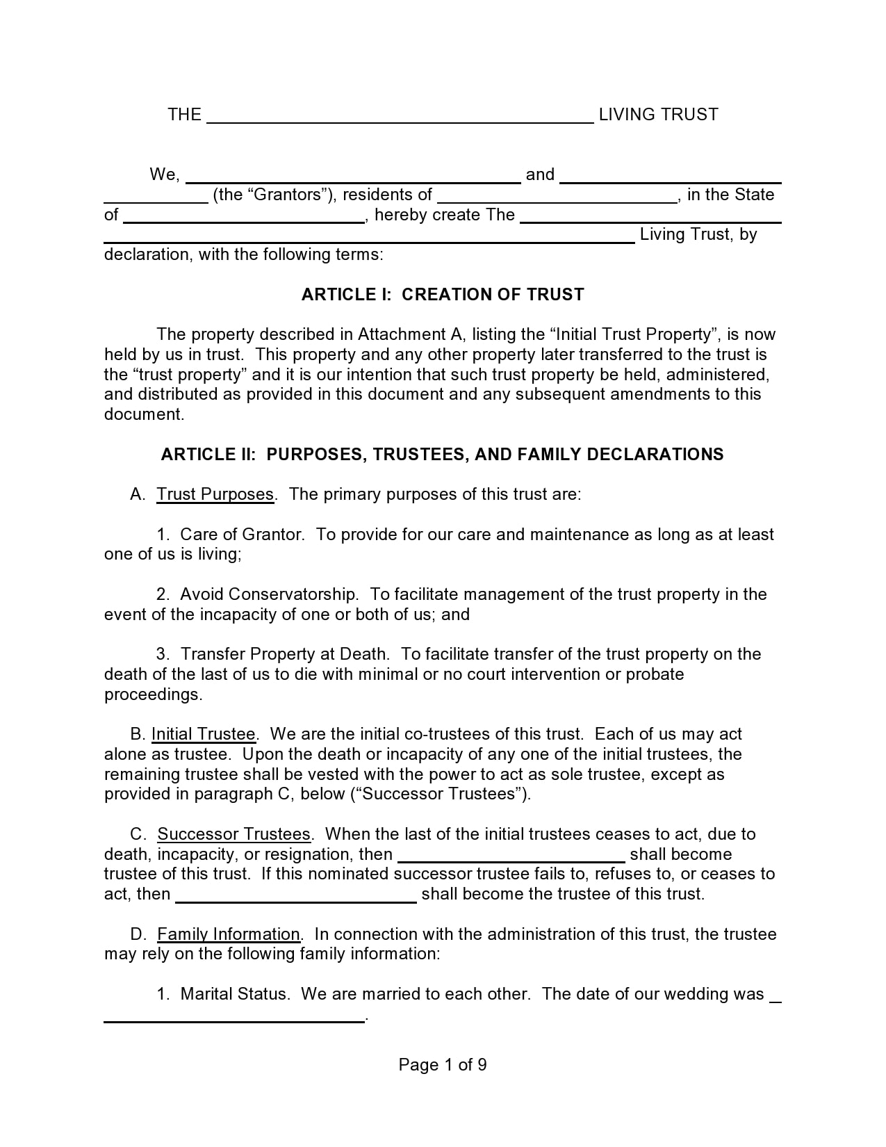 living trust form 20