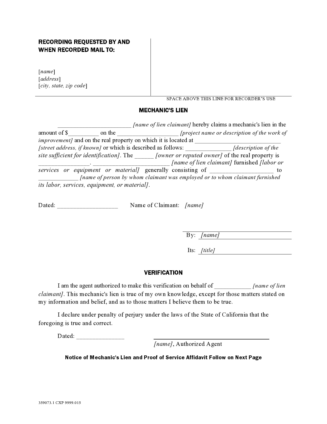mechanics lien form 10