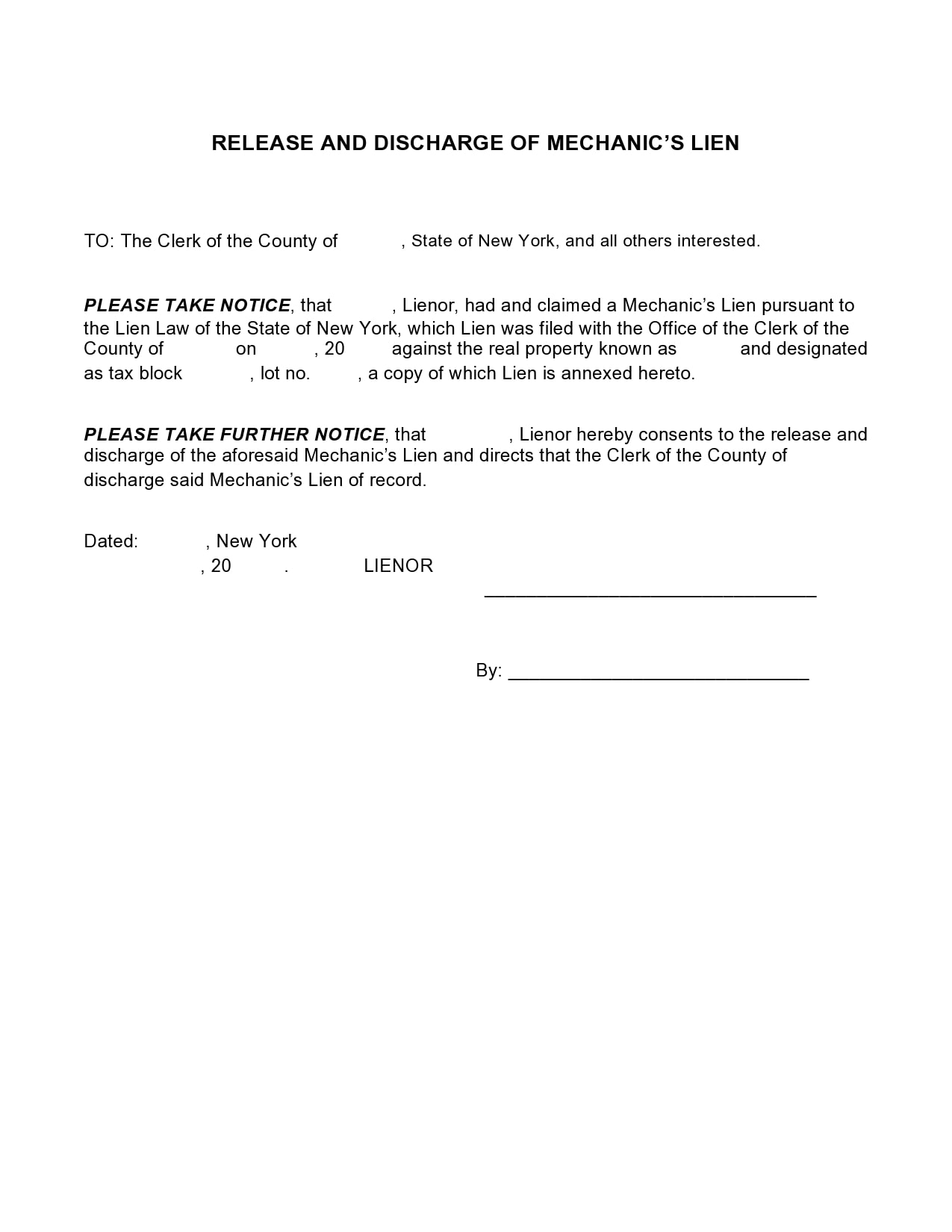 mechanics lien form 14