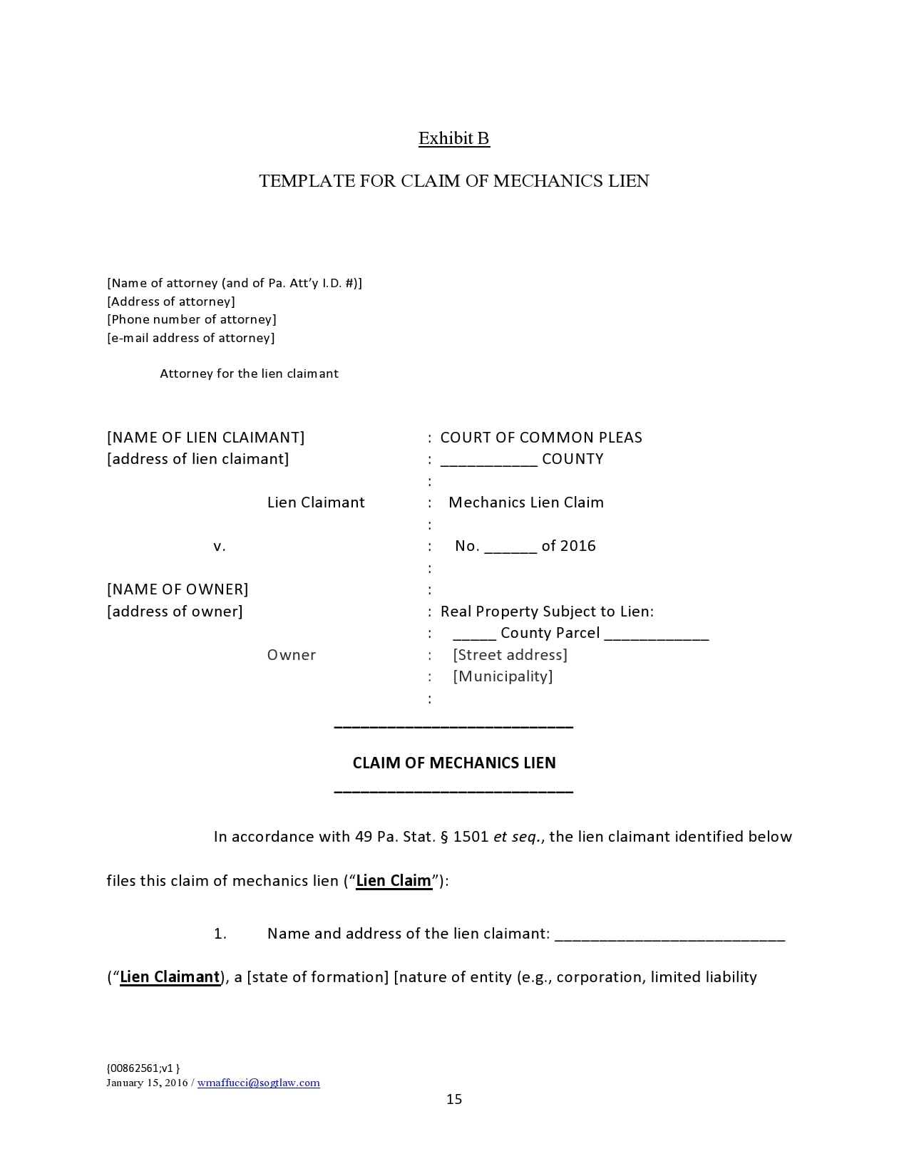mechanics lien form 15