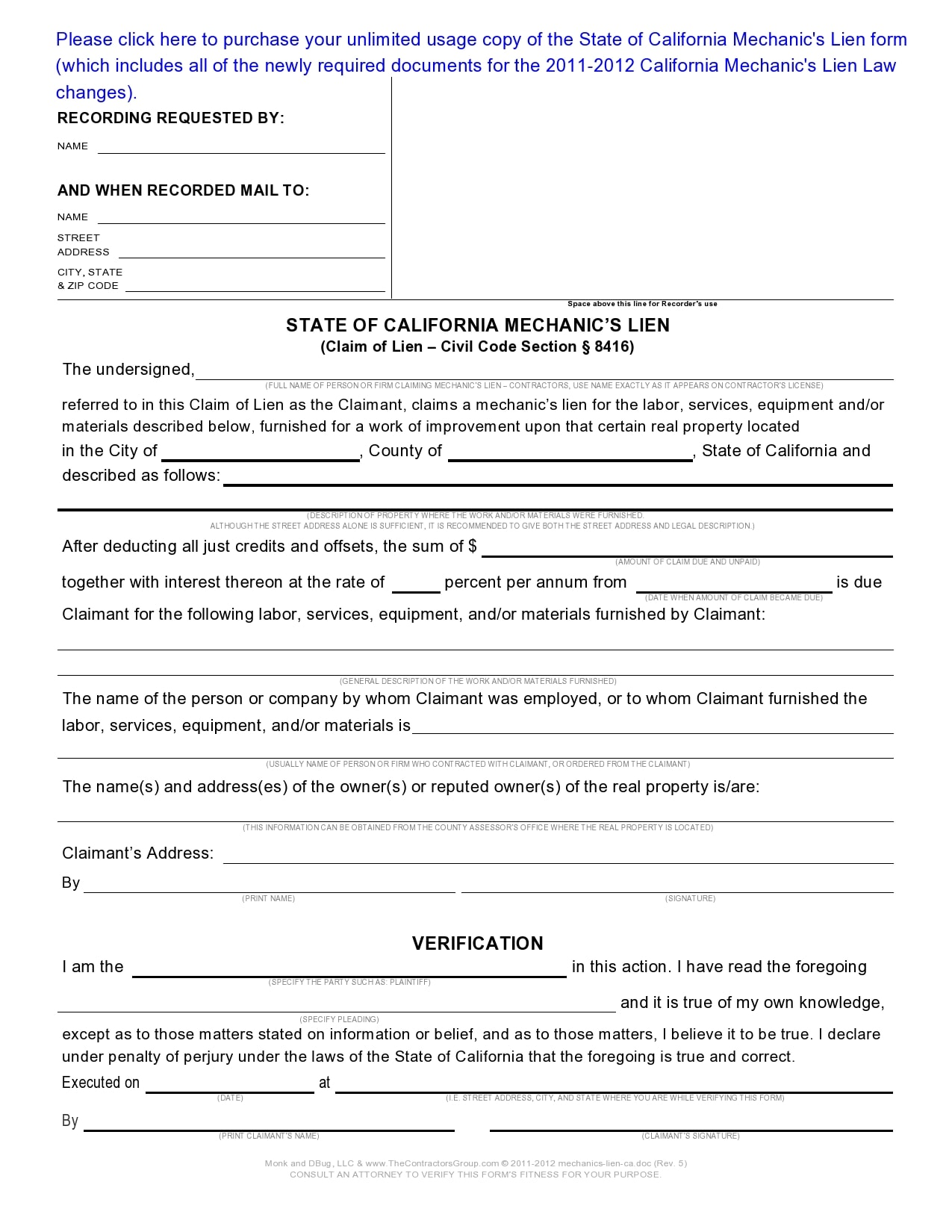 mechanics lien form 17
