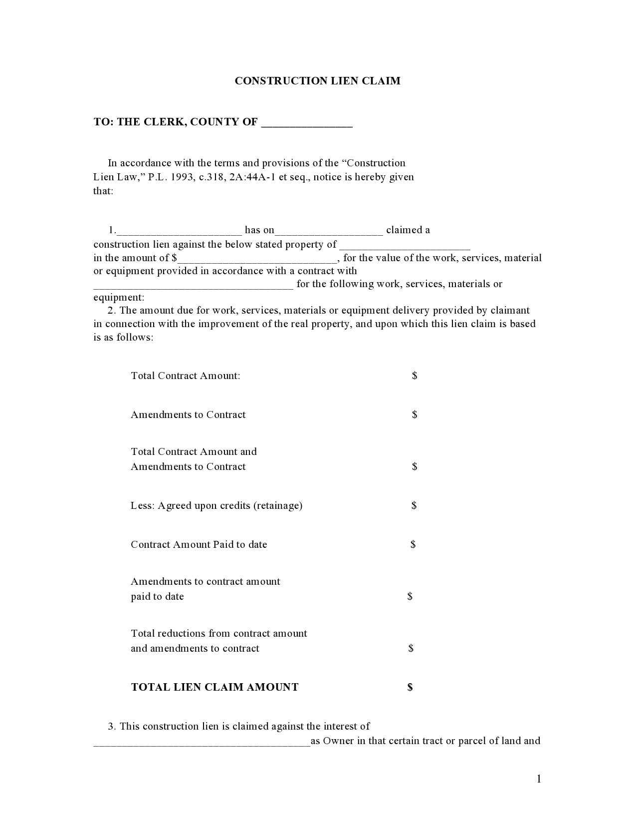 mechanics lien form 19