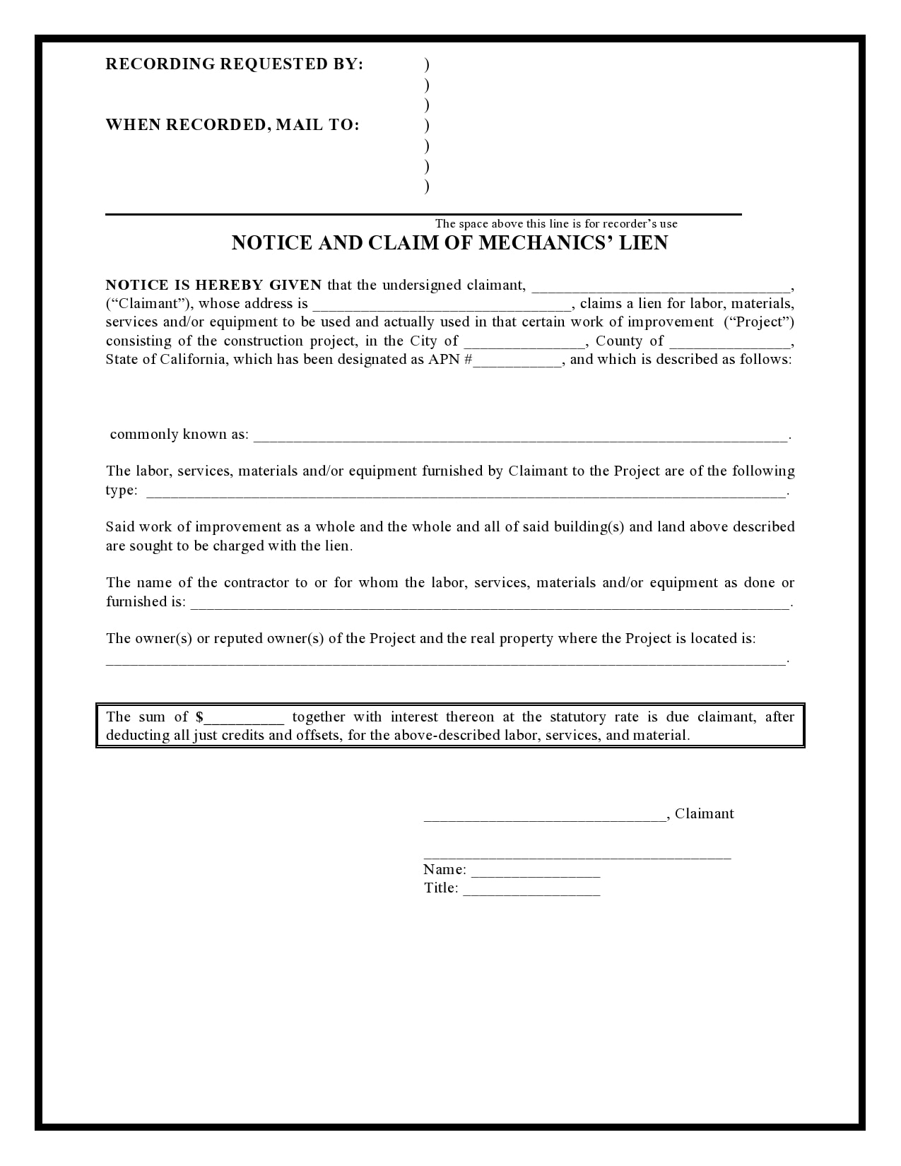 mechanics lien form 21