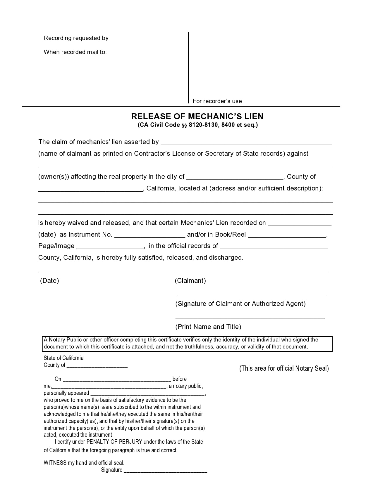 mechanics lien form 25