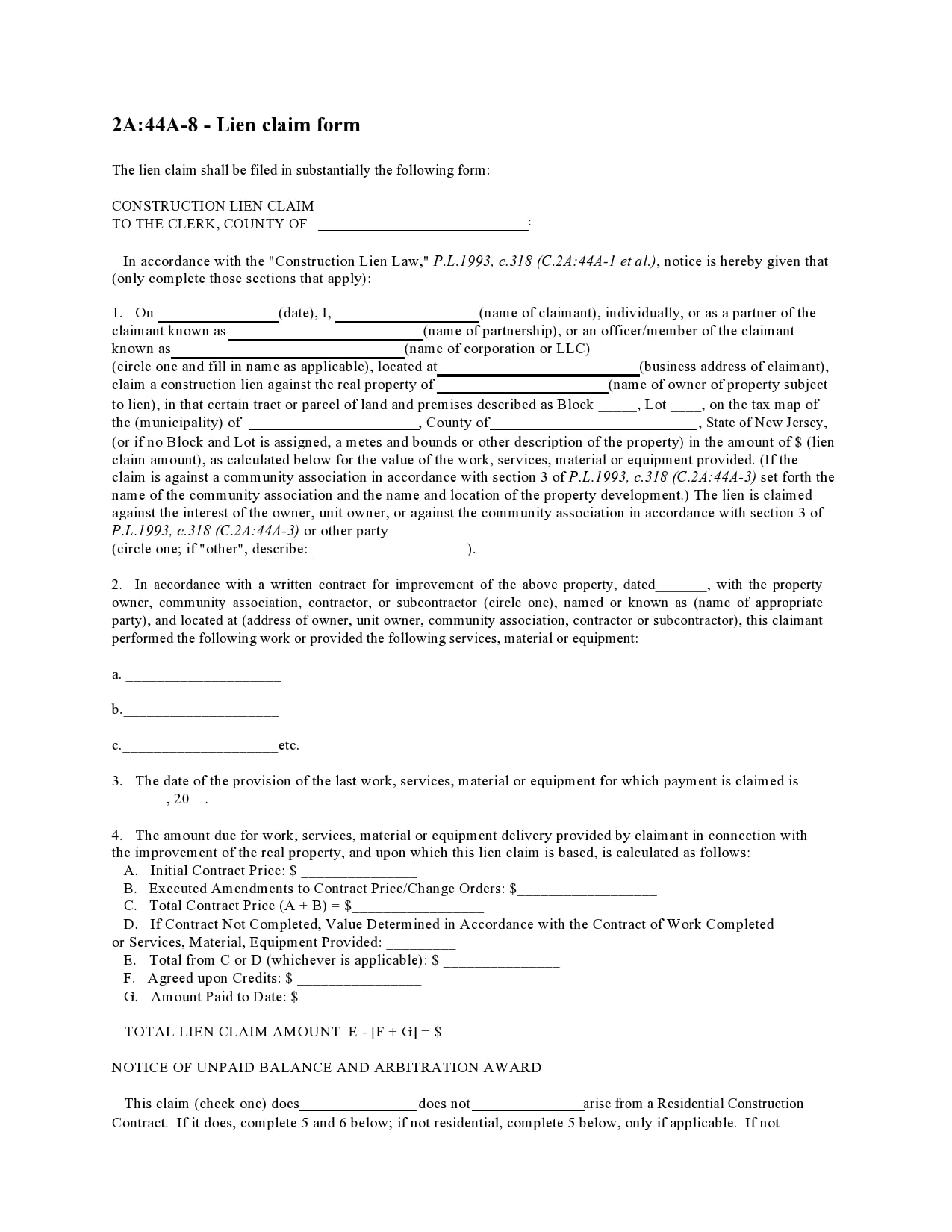 mechanics lien form 28