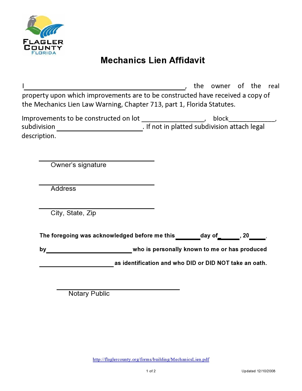 mechanics lien form 30