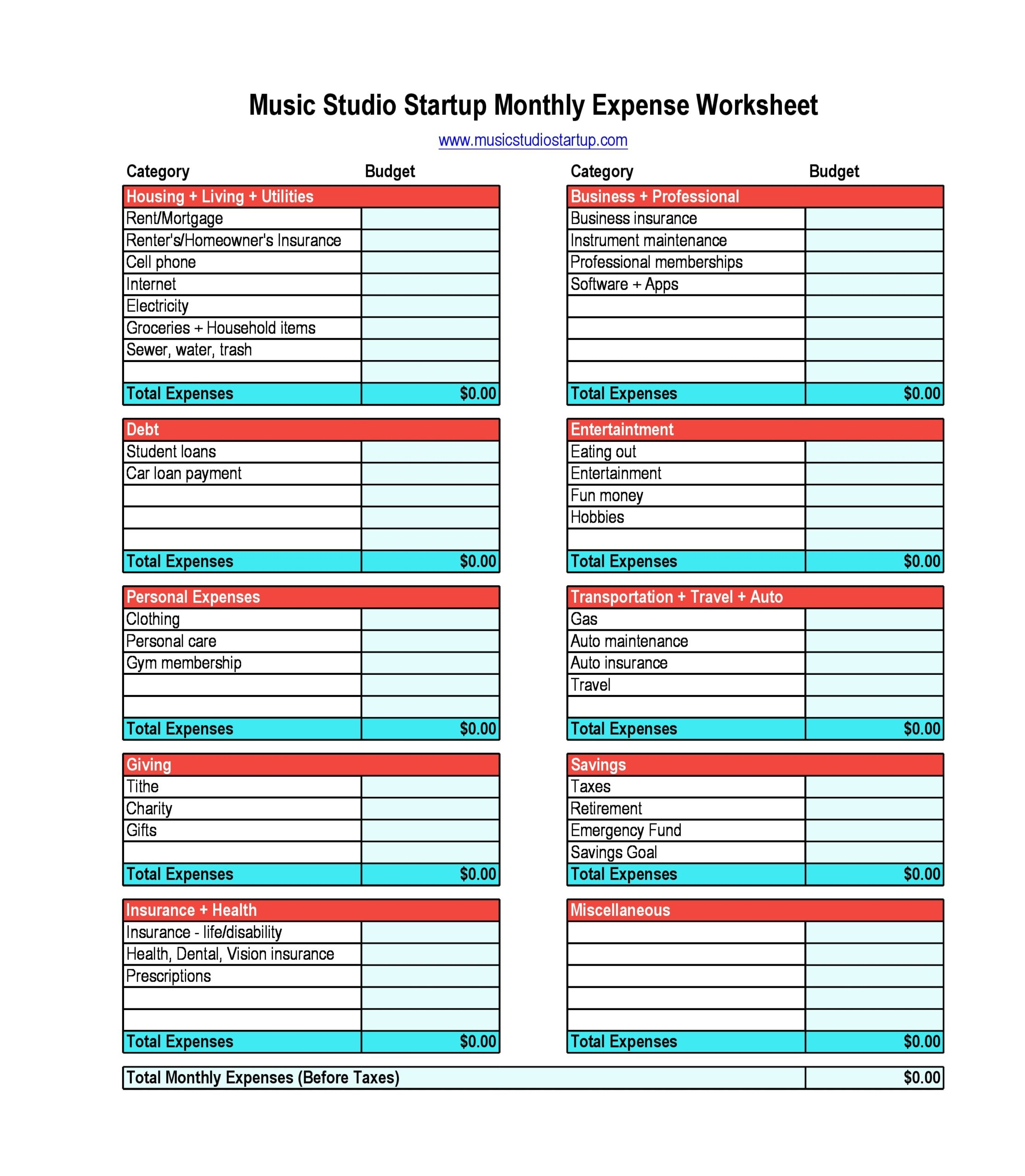 monthly expenses template 09