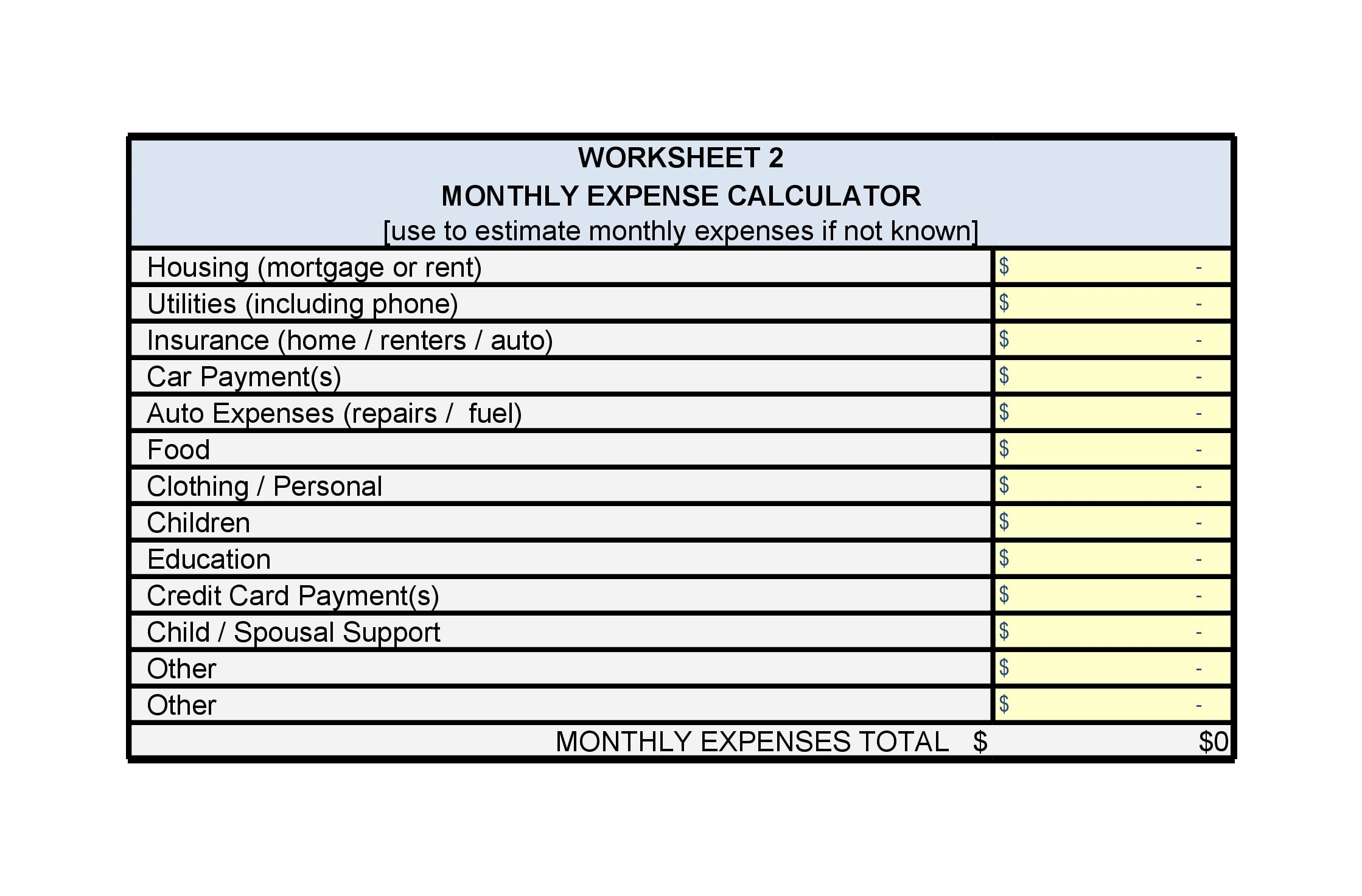 monthly expenses template 11