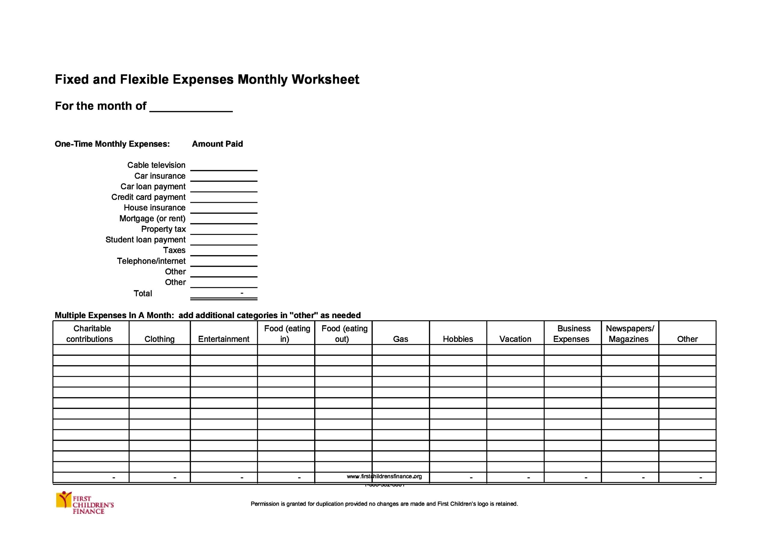 monthly expenses template 18