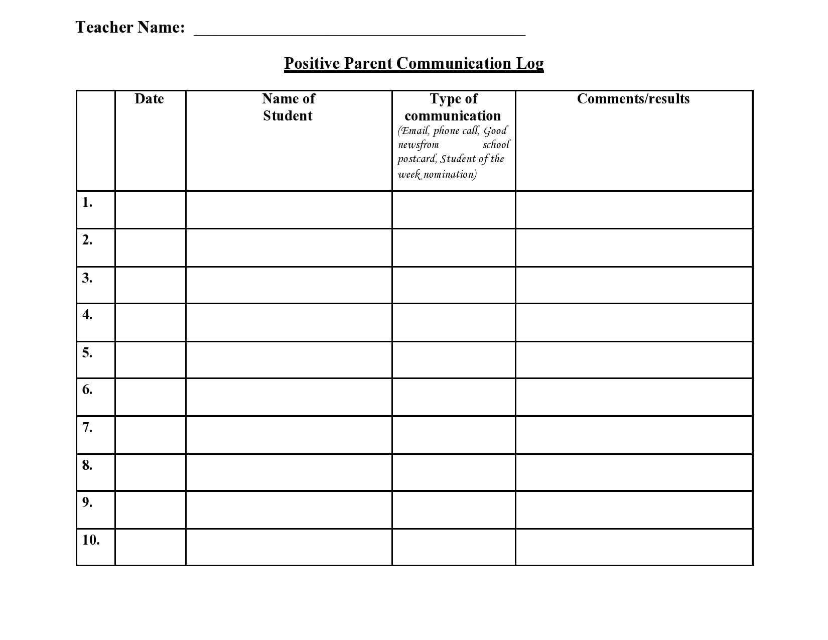 parent communication log 18