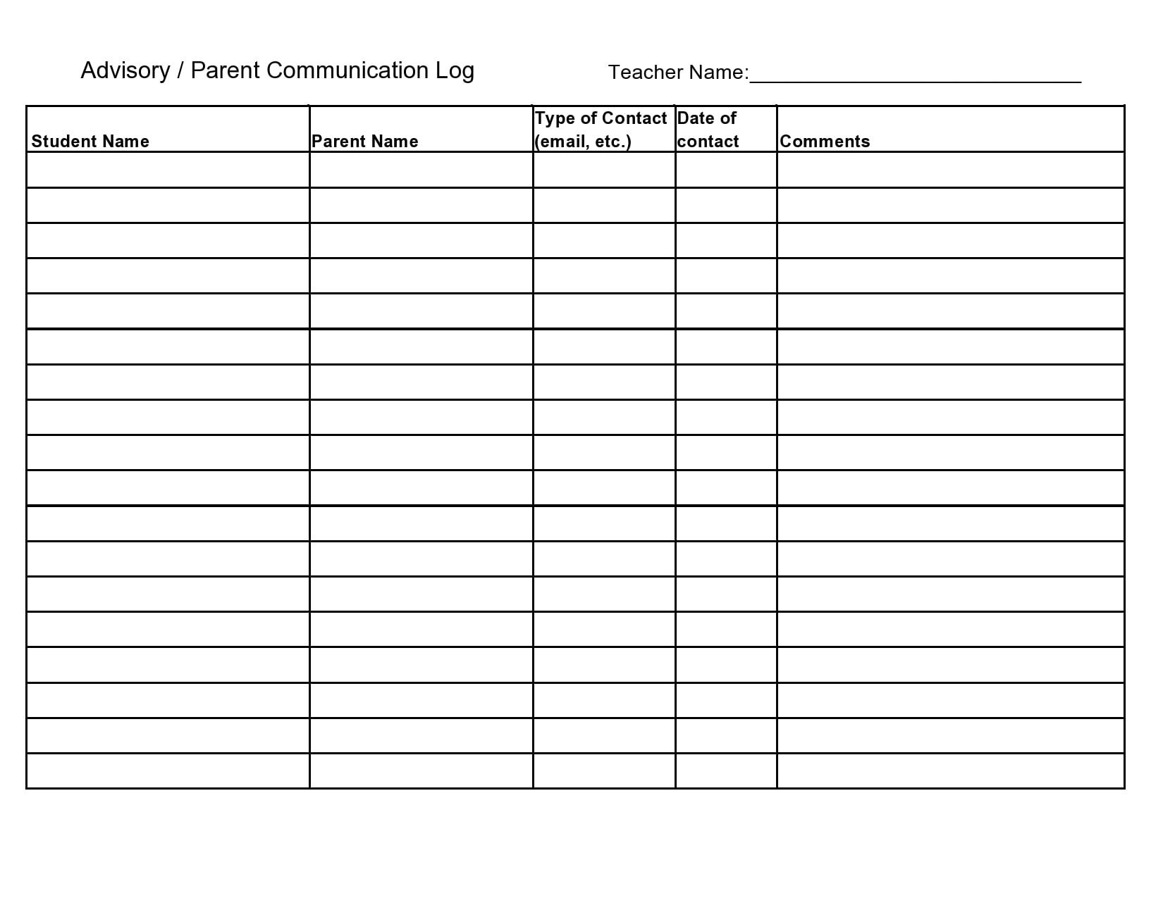 parent communication log 19