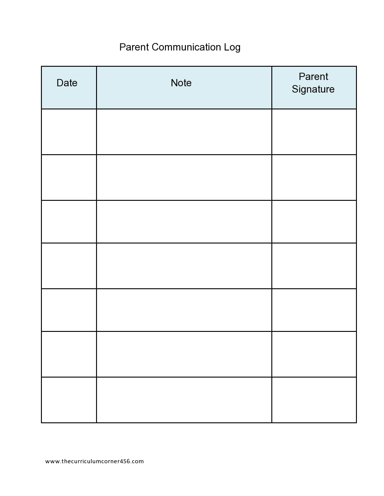 parent communication log 22