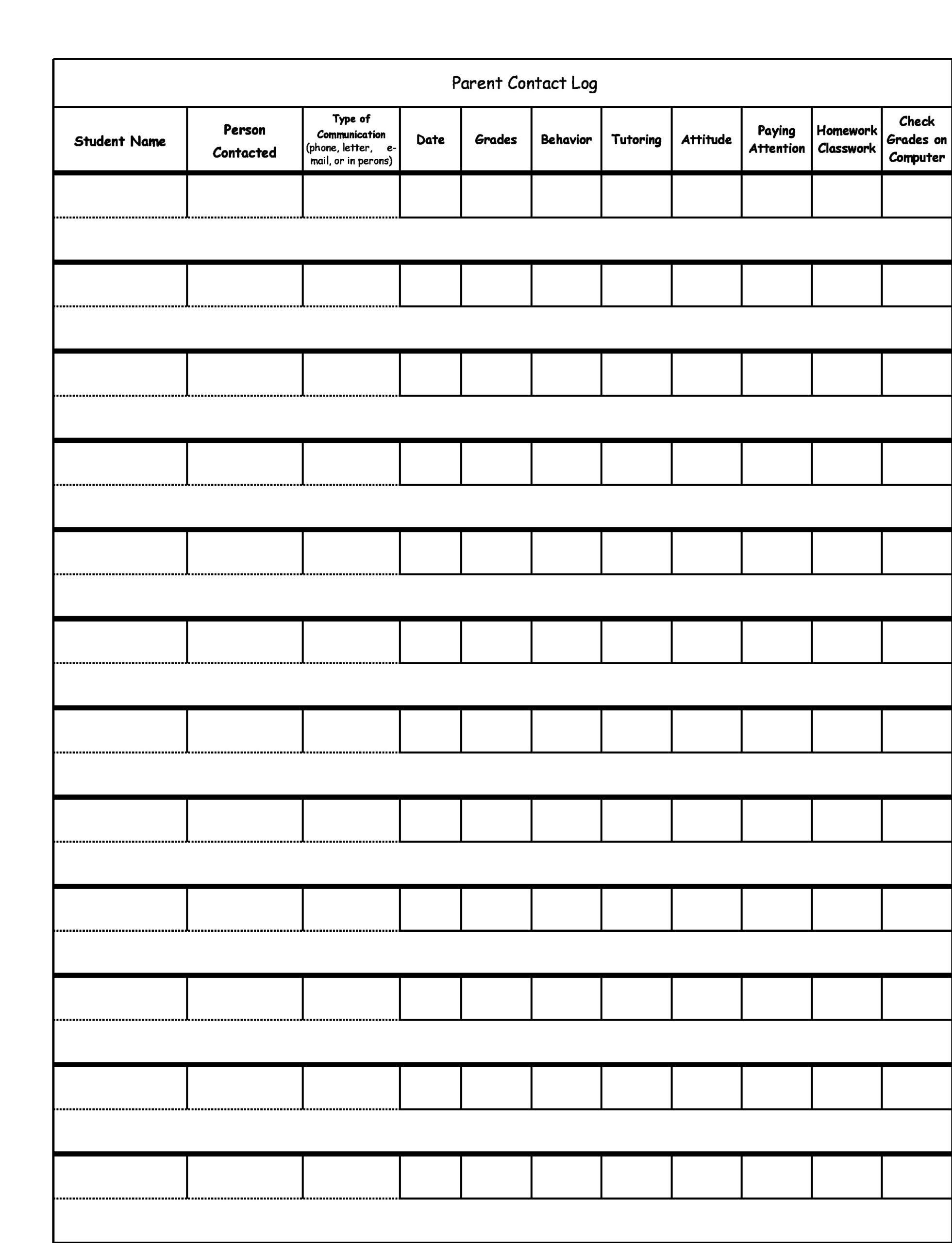 parent communication log 30