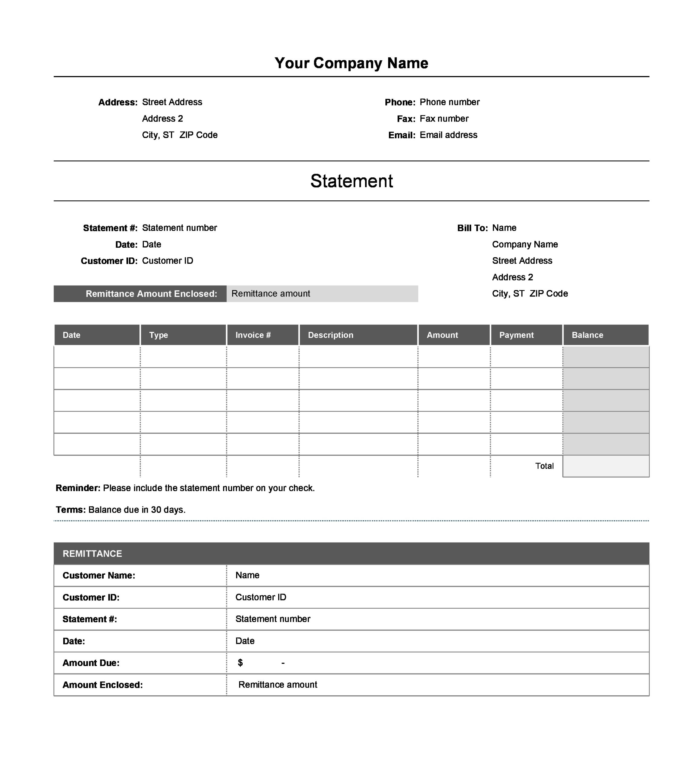 statement template 02