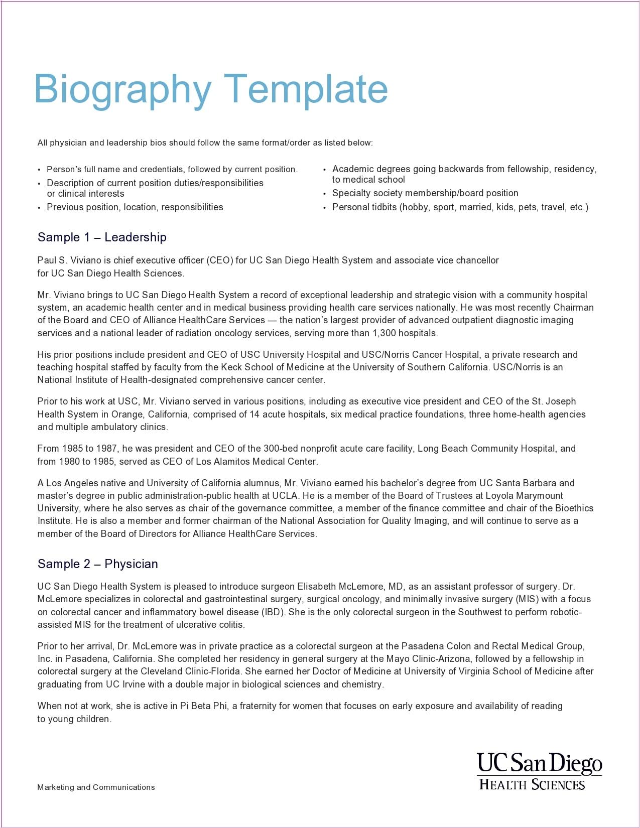 A bio template writing 38+ Biography