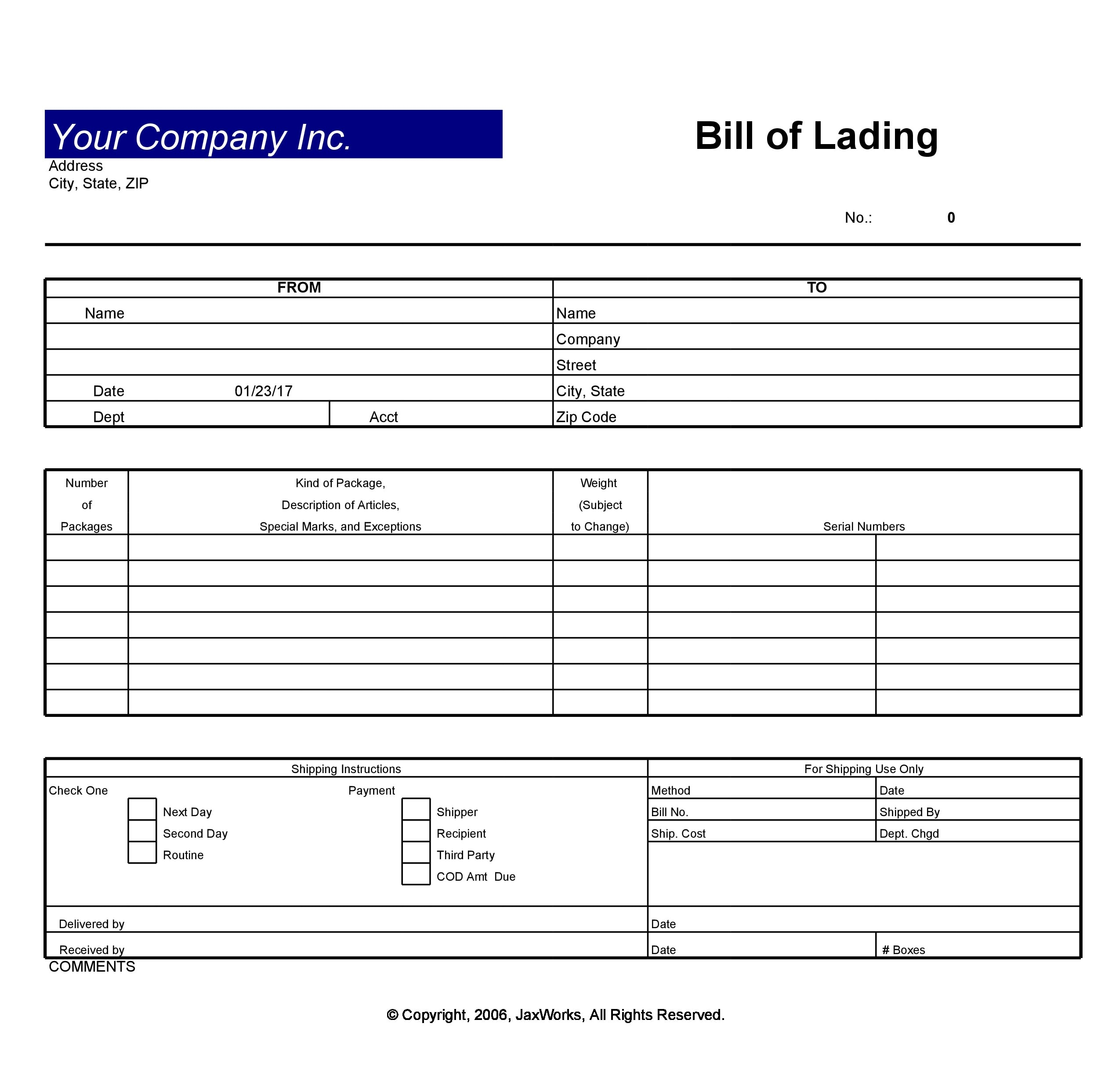 24 Blank Bill Of Lading Templates (24% FREE) - TemplateArchive With Blank Bol Template