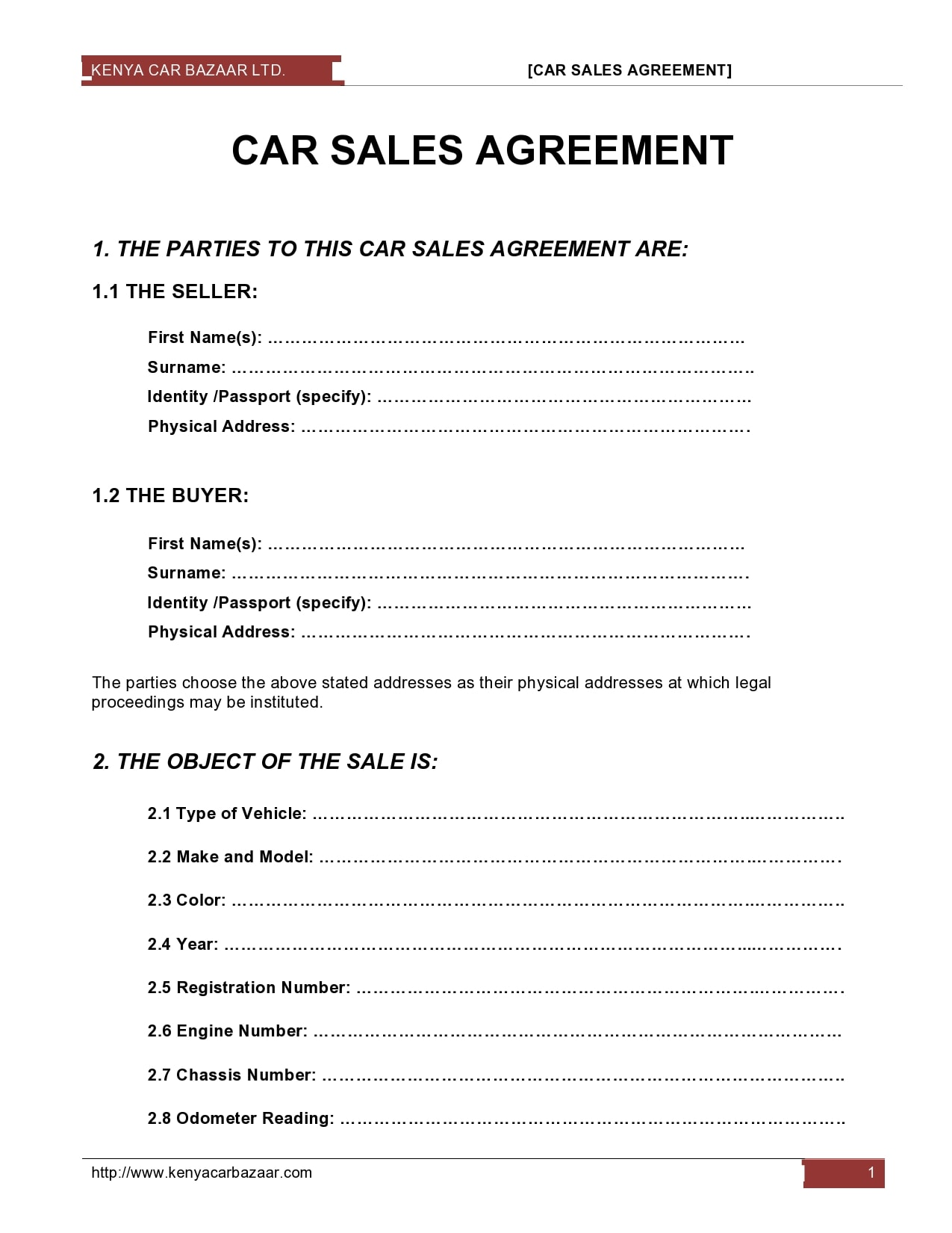 30 Simple Car Sale Contract Templates 100 Free Car sales template free download