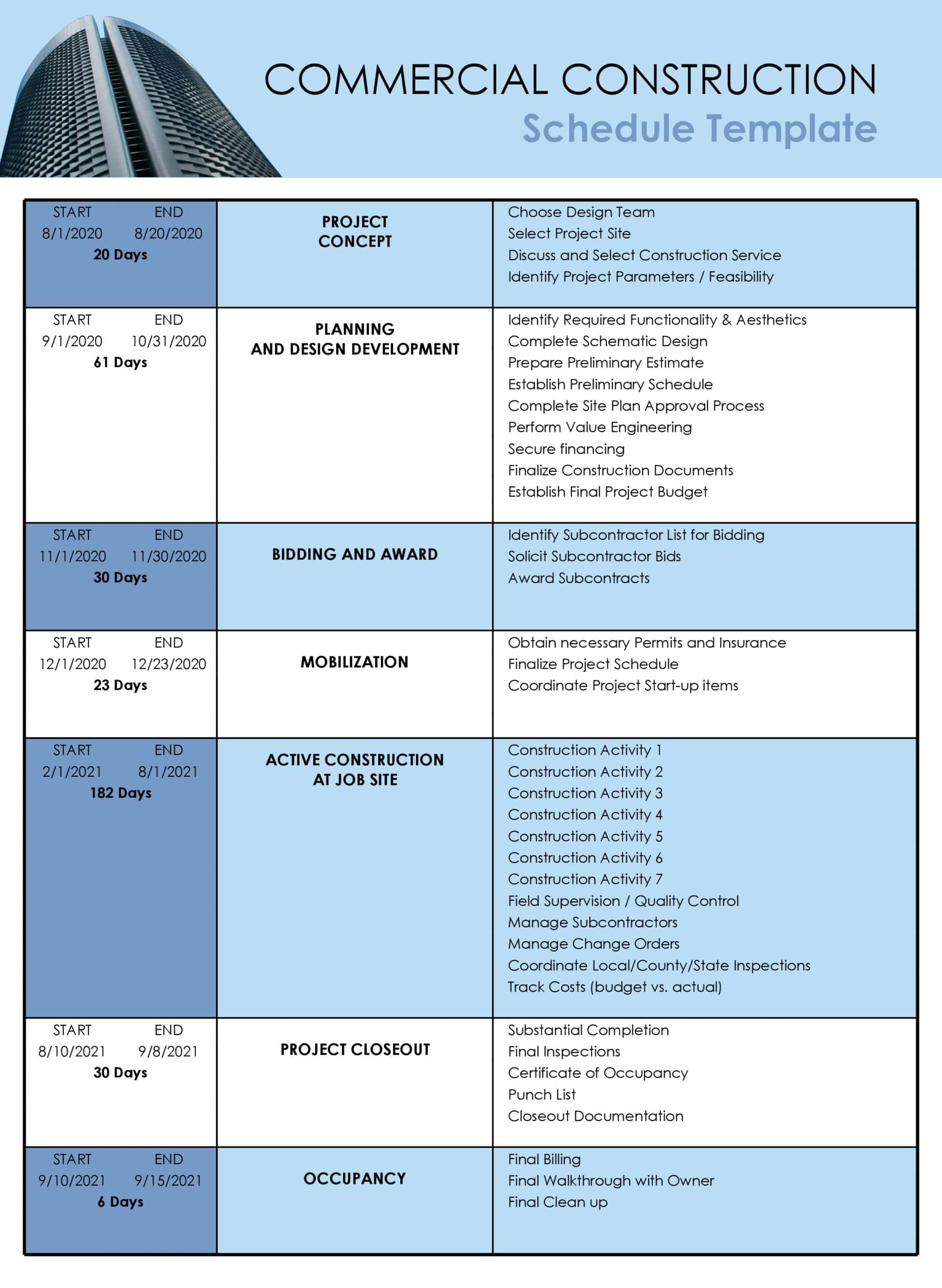construction schedule 05