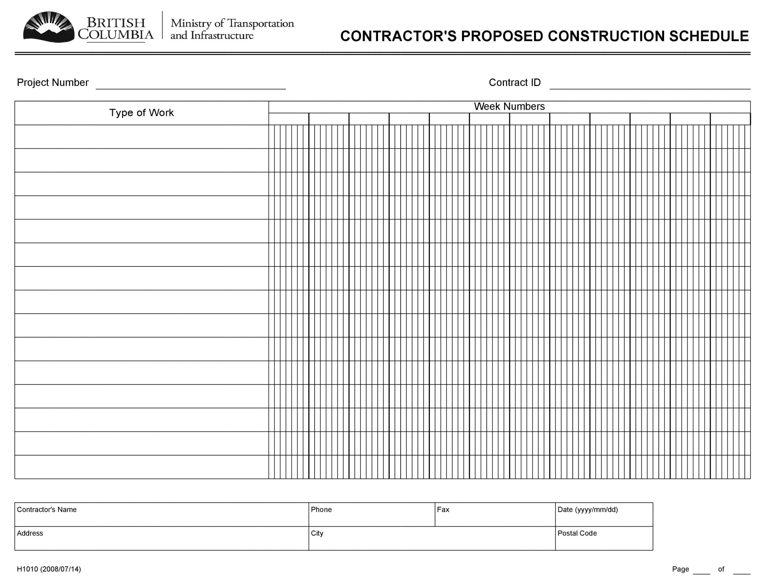 construction schedule 07